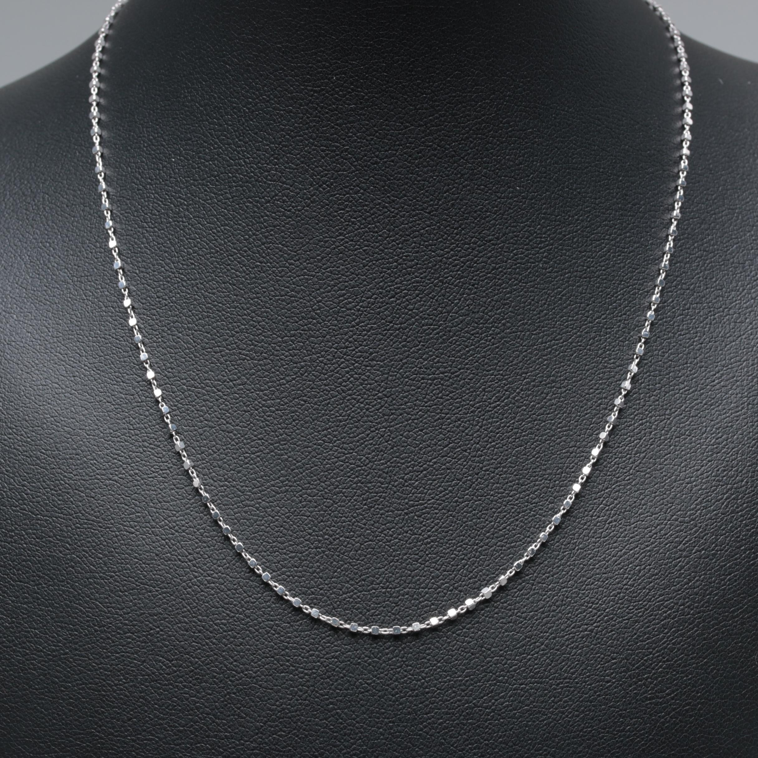 14K White Gold Fancy Link Chain Necklace