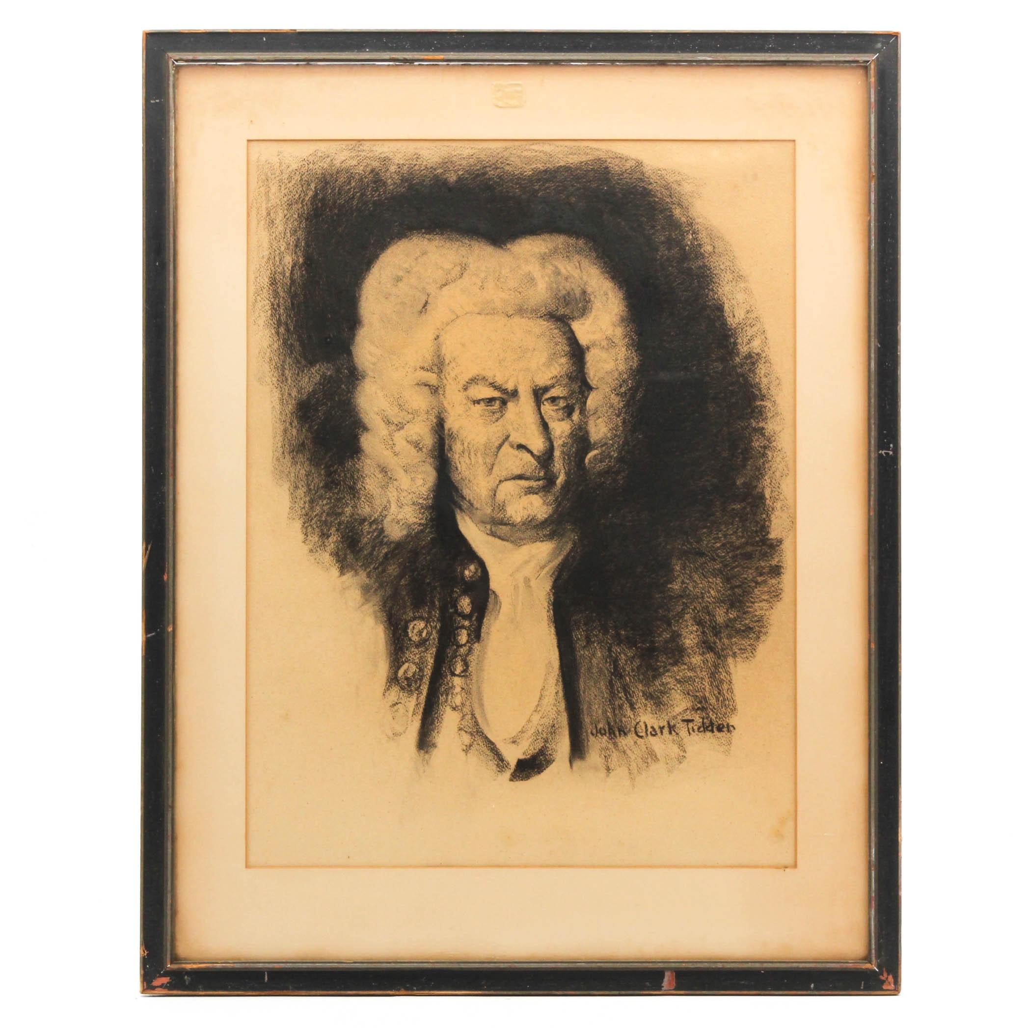 John Clark Tidder Charcoal Portrait Depicting Johann Sebastian Bach
