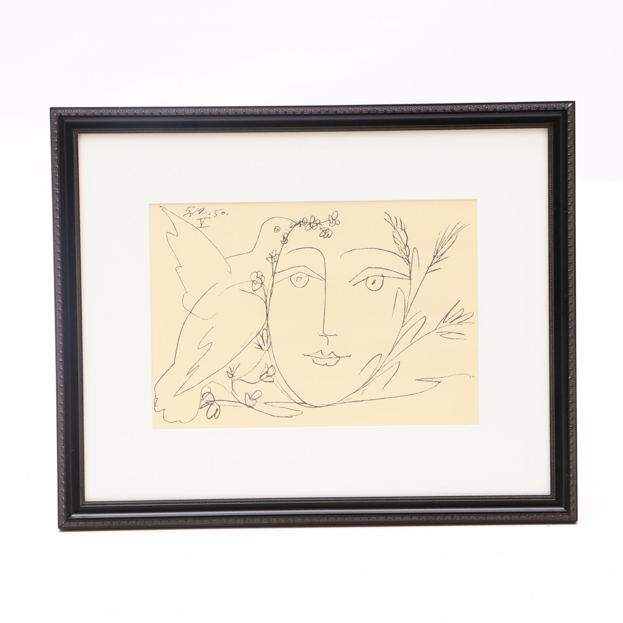 """Lithograph after Picasso """"""""Visage de la Paix V"""""""
