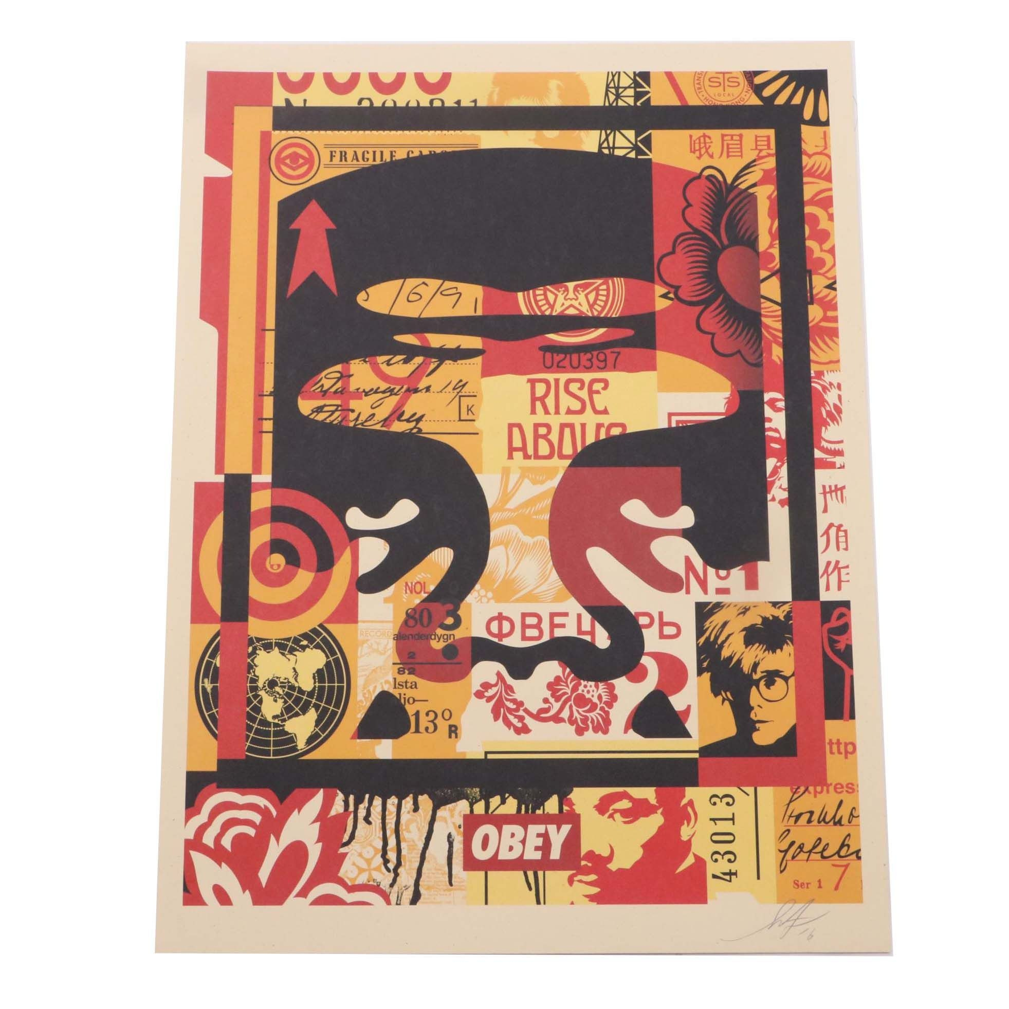 """Shepard Fairey 2016 Signed Offset Print """"Obey Face Collage"""""""