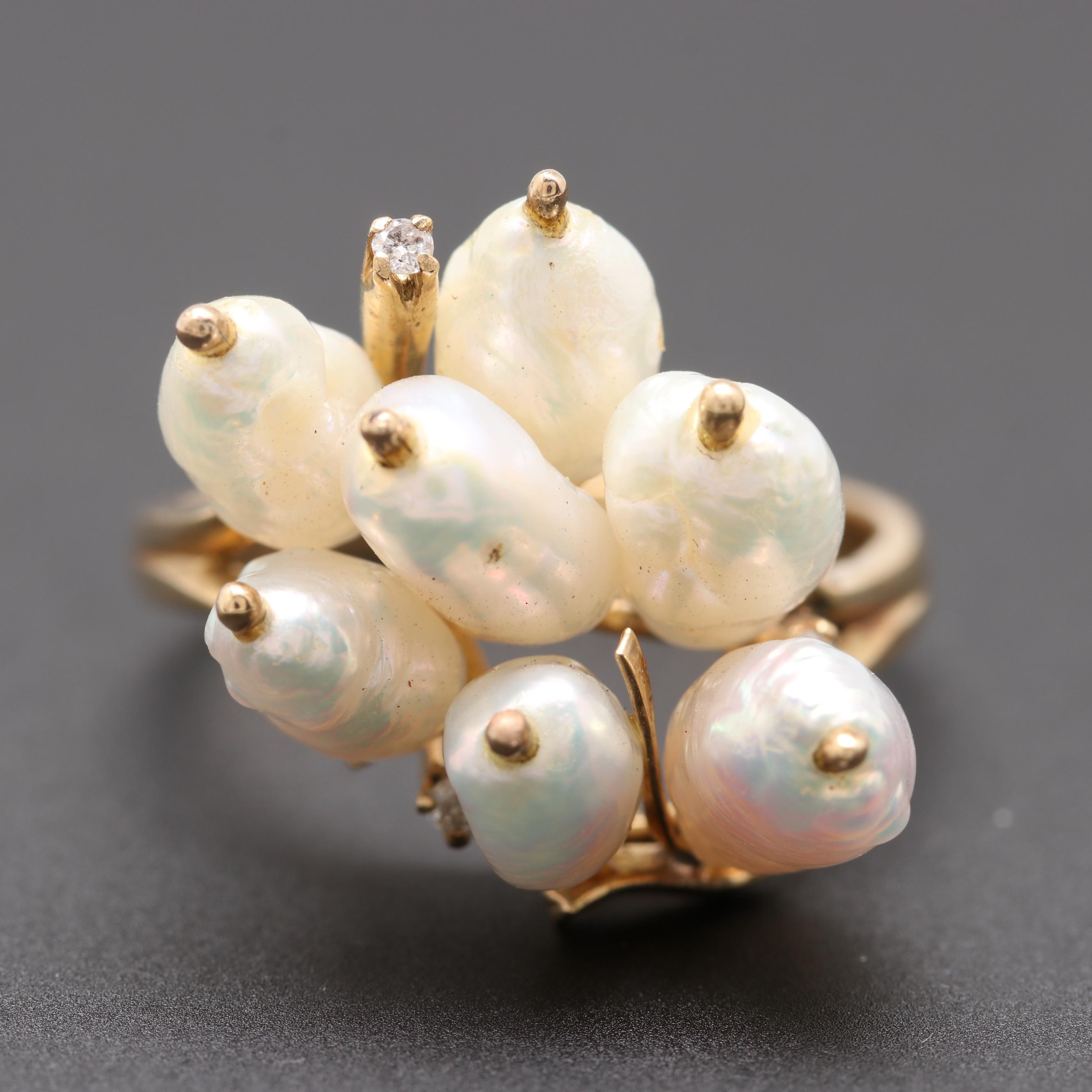 14K Yellow Gold Diamond and Cultured Pearl Cluster Ring
