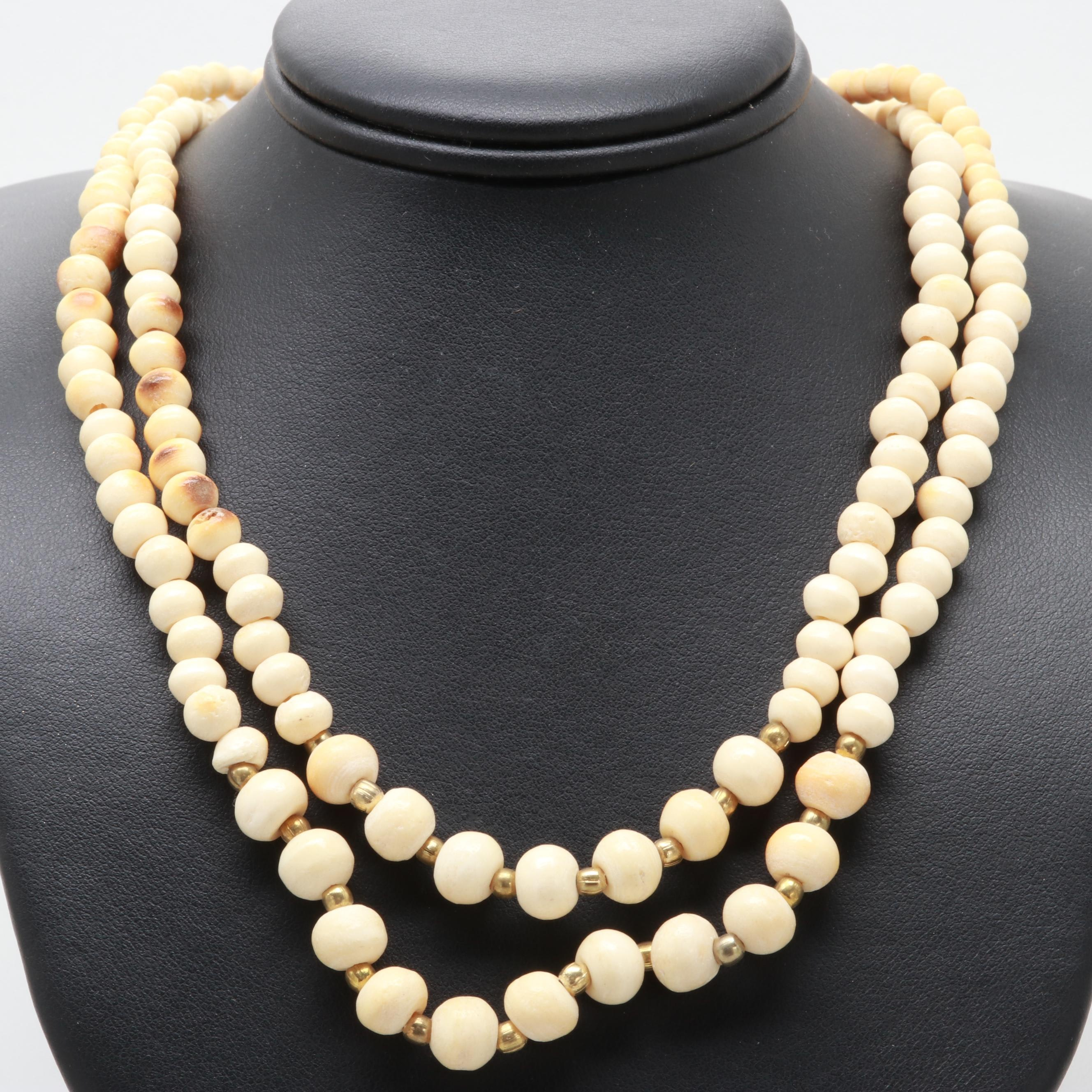 Beaded Bone Necklace with Gold Tone Spacer Beads Made in India