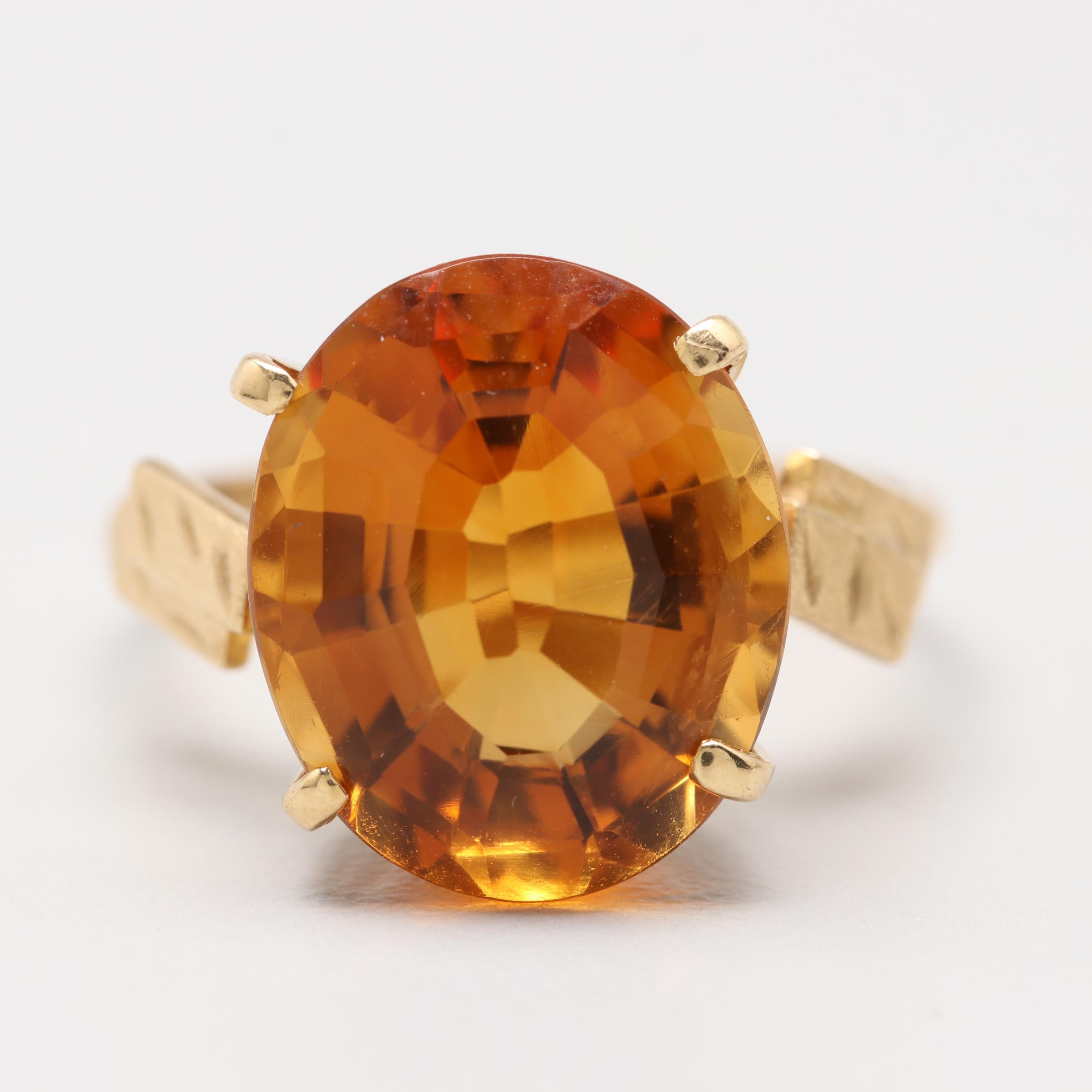 18K Yellow Gold Citrine Ring