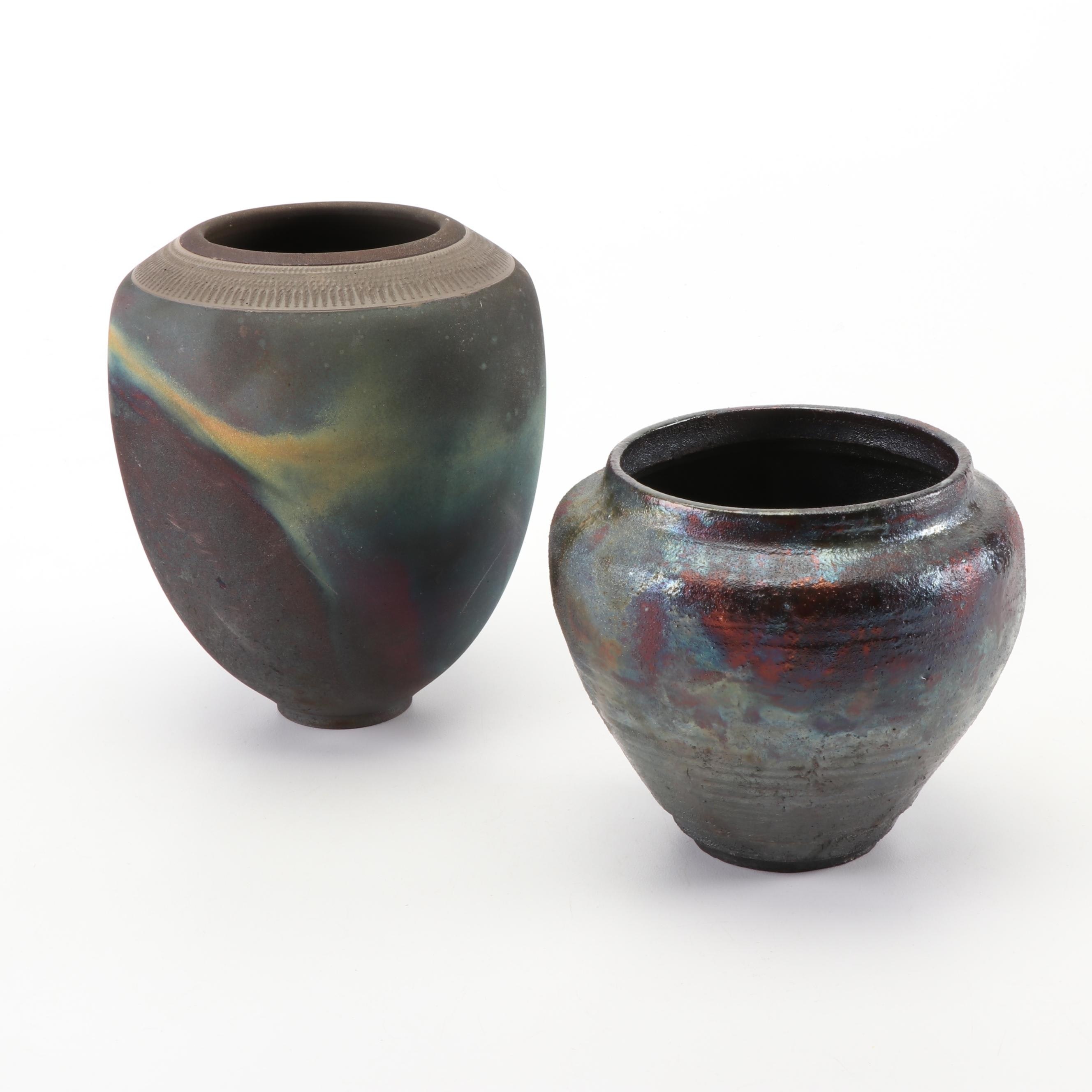 Wheel Thrown Raku Fired Copper Flashed Stoneware Vases