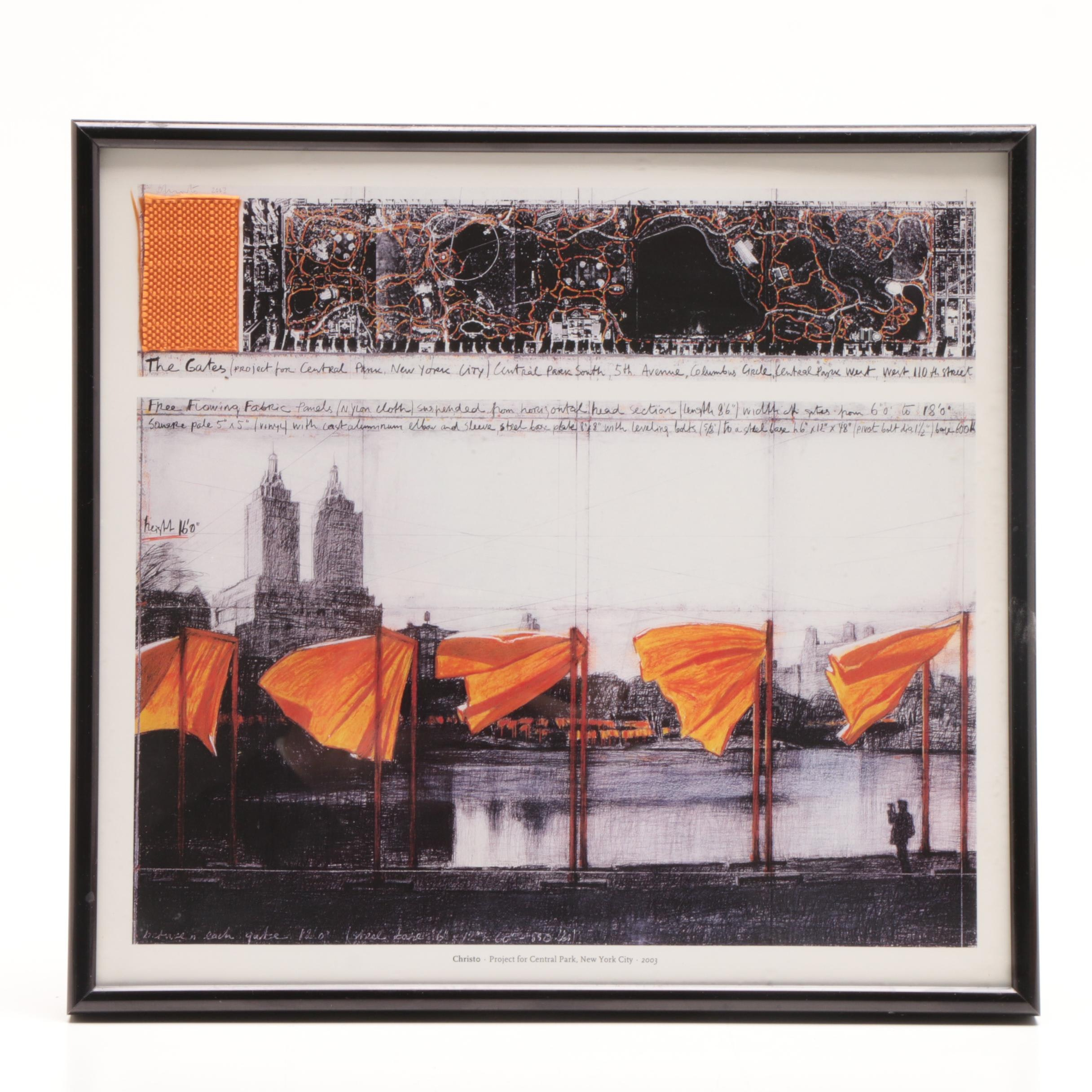 """Offset Lithograph after Christo Sketch for """"The Gates"""" with Textile Fragment"""