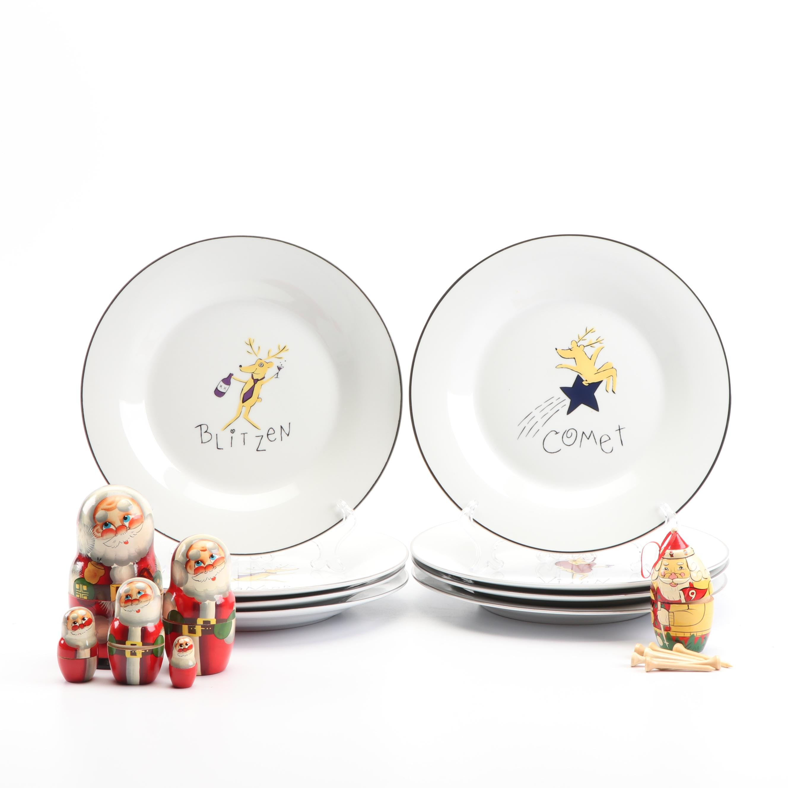 "Pottery Barn ""Reindeer"" Plates, Hand-Painted Santa Nesting Boxes and Ornament"