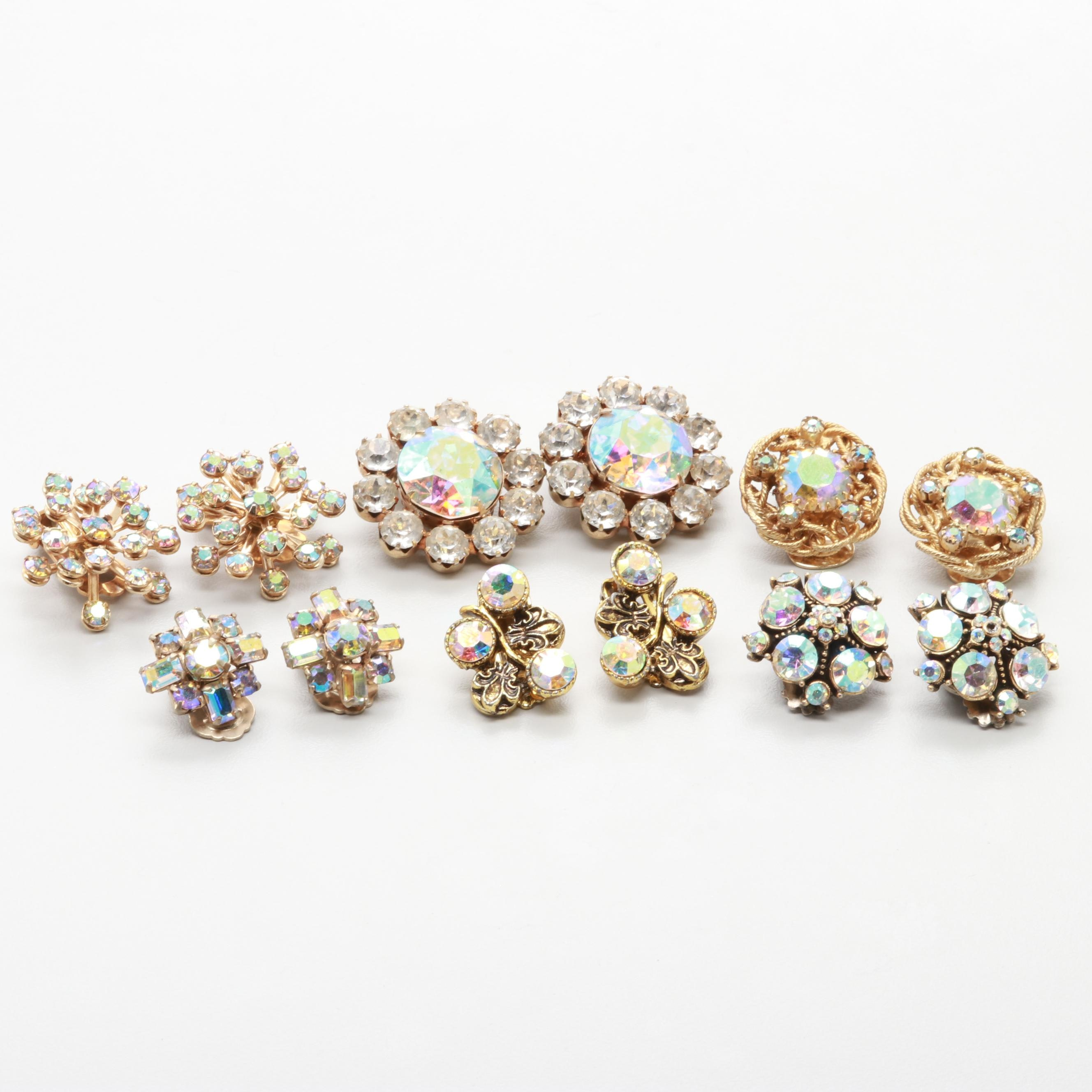 Collection of 1960s Iridescent Rhinestone Earrings Including Weiss, Kramer