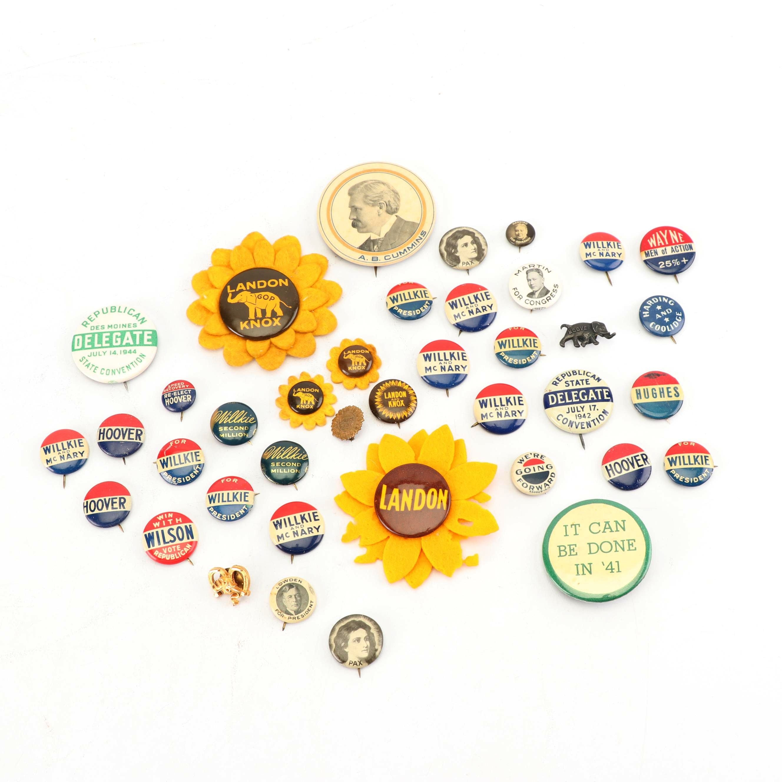 Archive of the Wesley Garner Family of Iowa, Mid 20th Century Campaign Pins