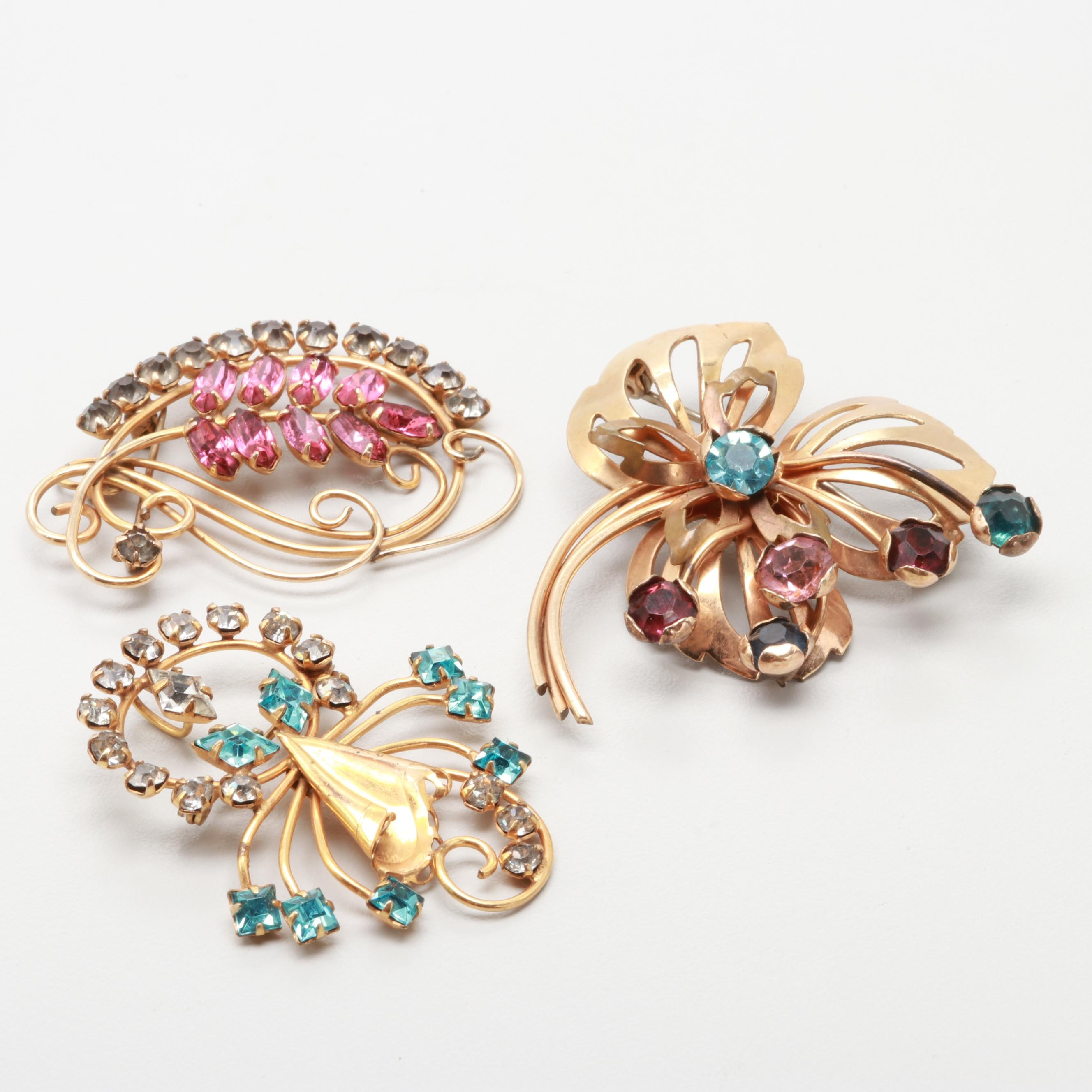 1940s Rhinestone Floral Brooches Including CRC Co