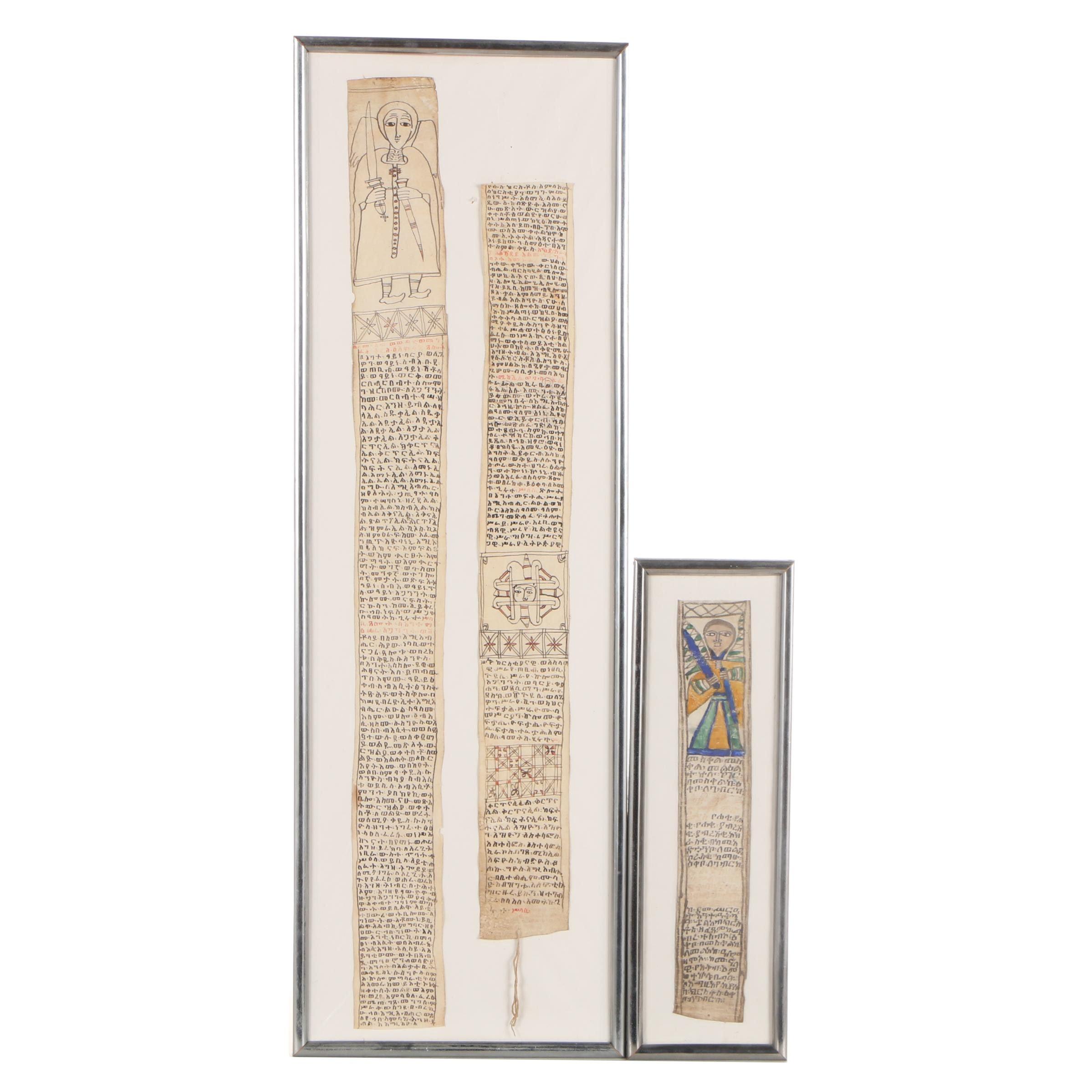 Ethiopian Ge'ez Manuscript Prayer Scrolls