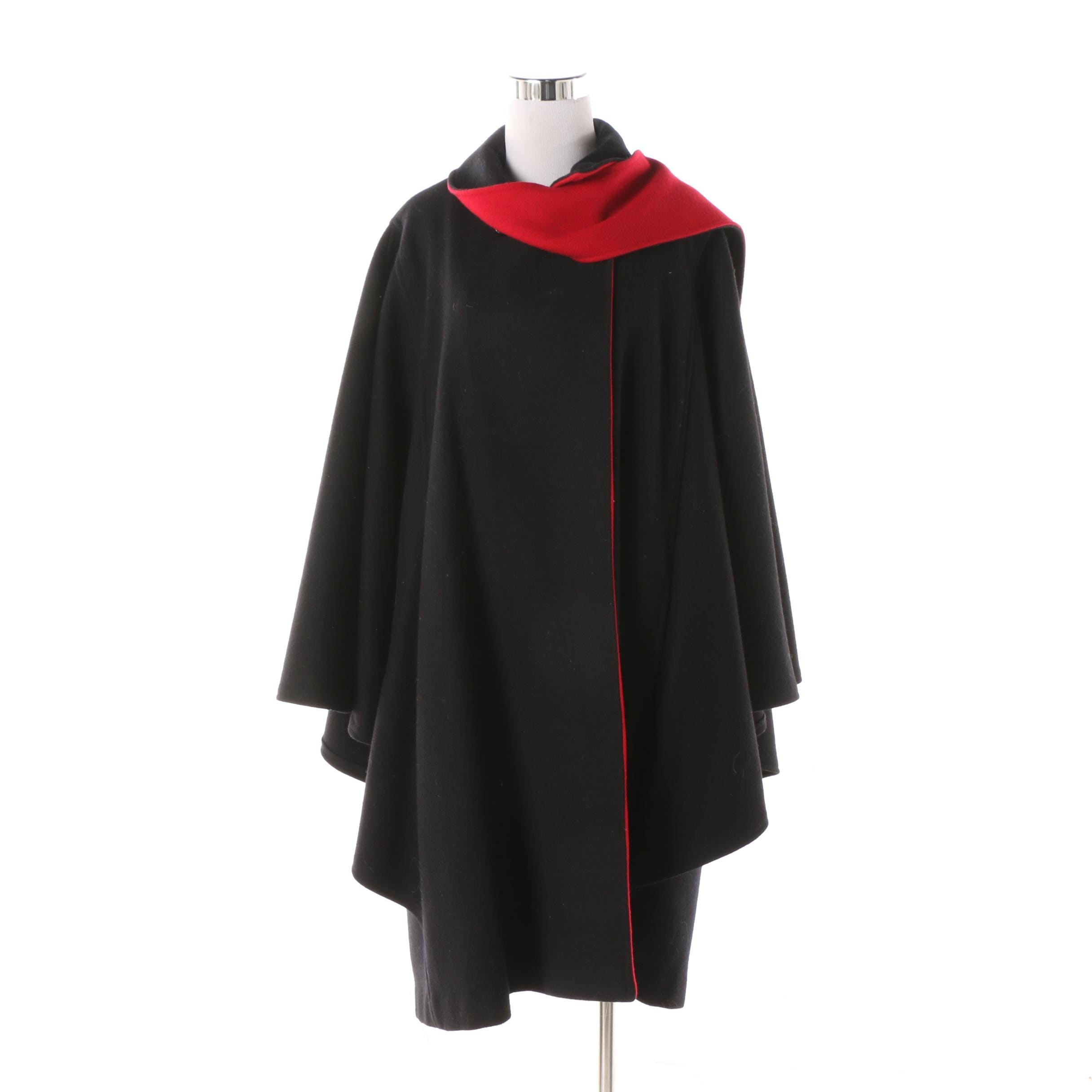 Women's Black and Red Wool Cape