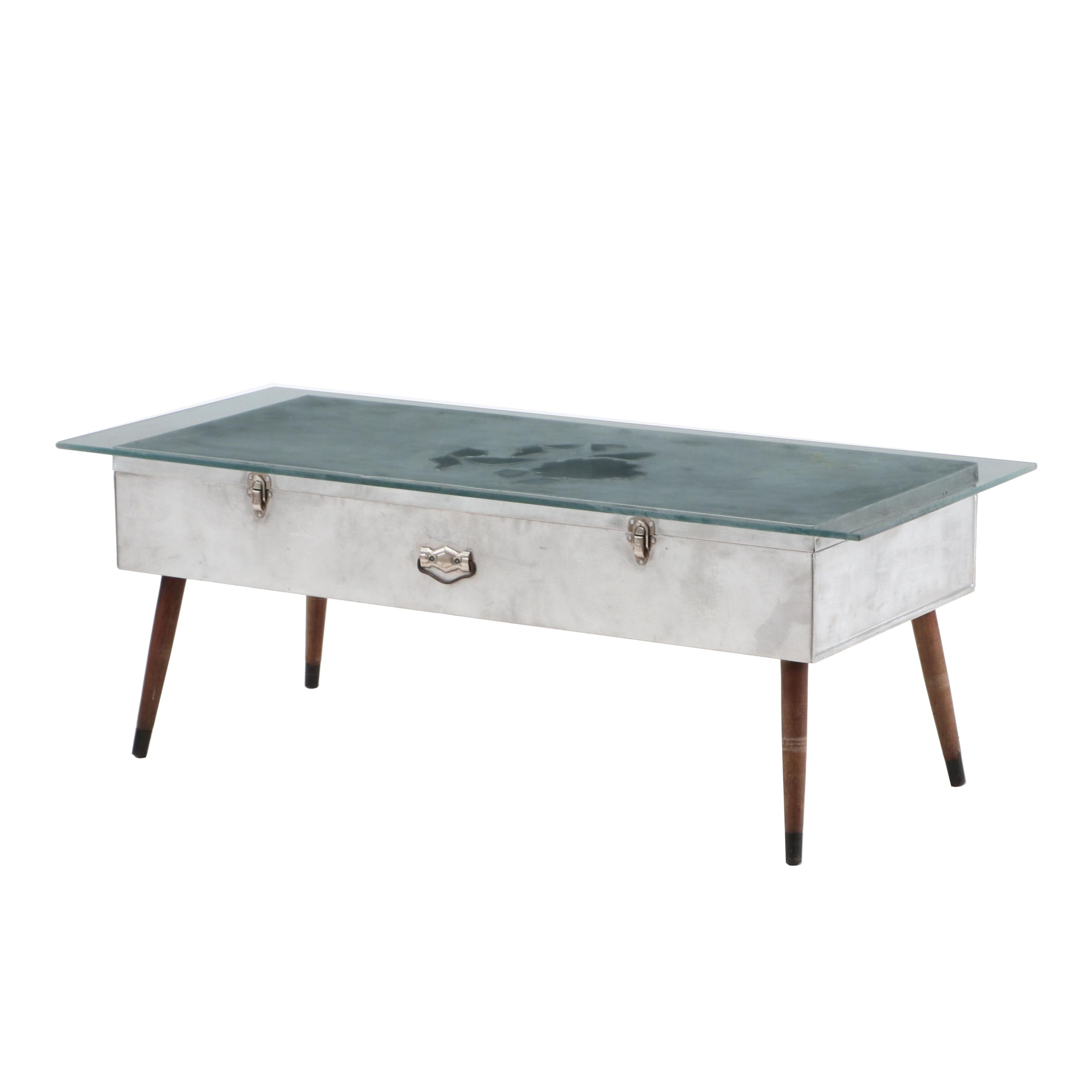 Vintage Repurposed Aluminum Storage Locker Coffee Table