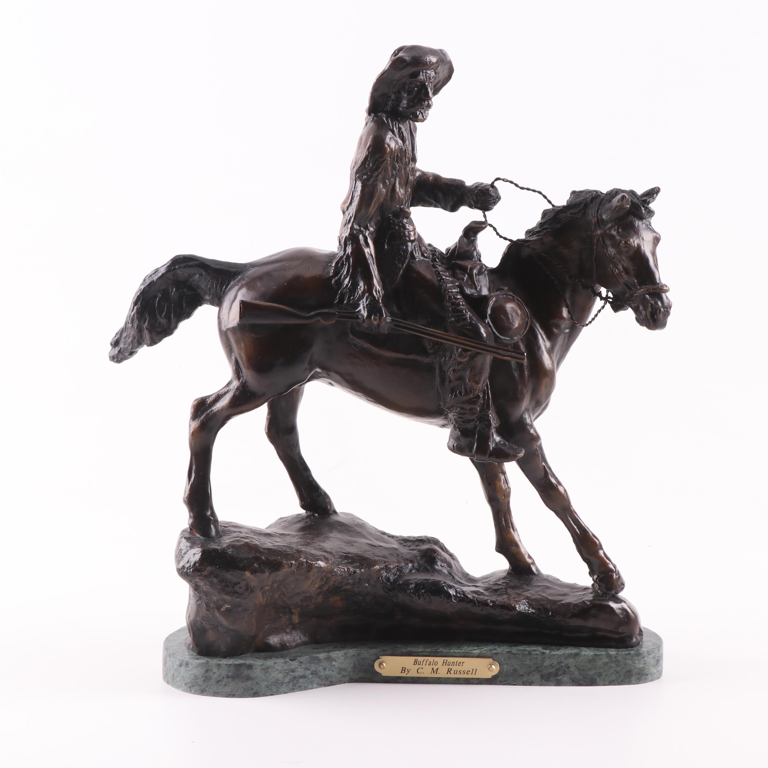 "Bronze Sculpture after Charles Marion Russell ""Buffalo Hunter"""