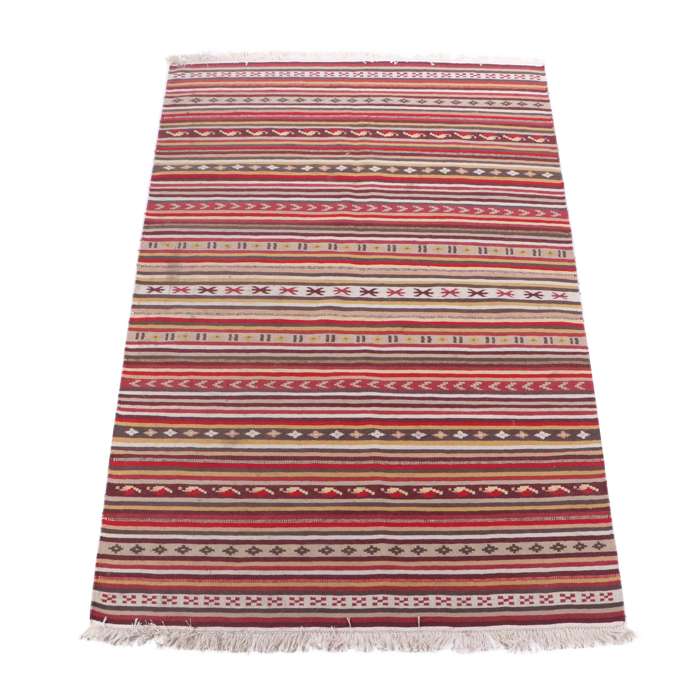 "Handwoven Ikea Indian ""Kattrup"" Wool Kilim"