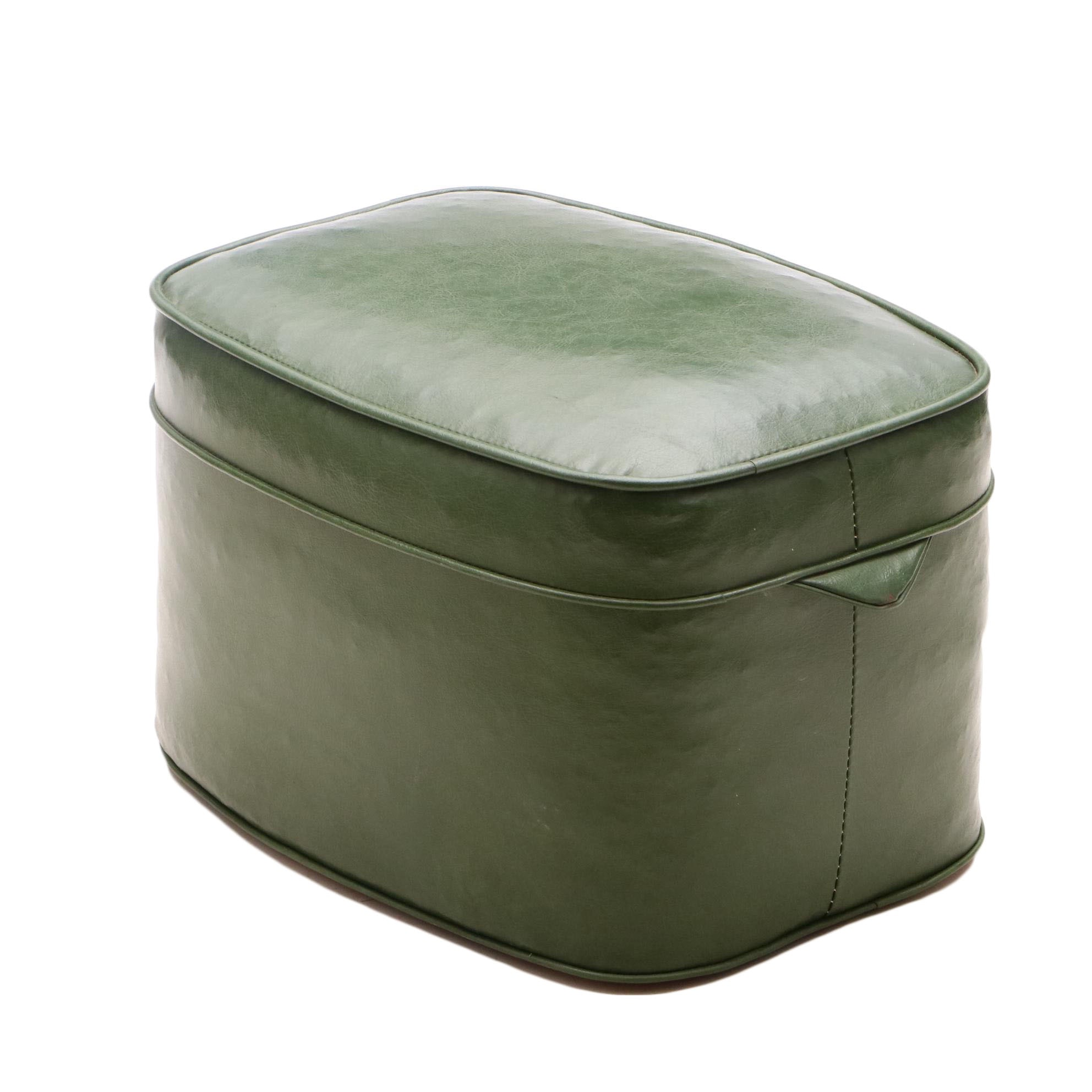 Vintage Green Faux Leather Footstool