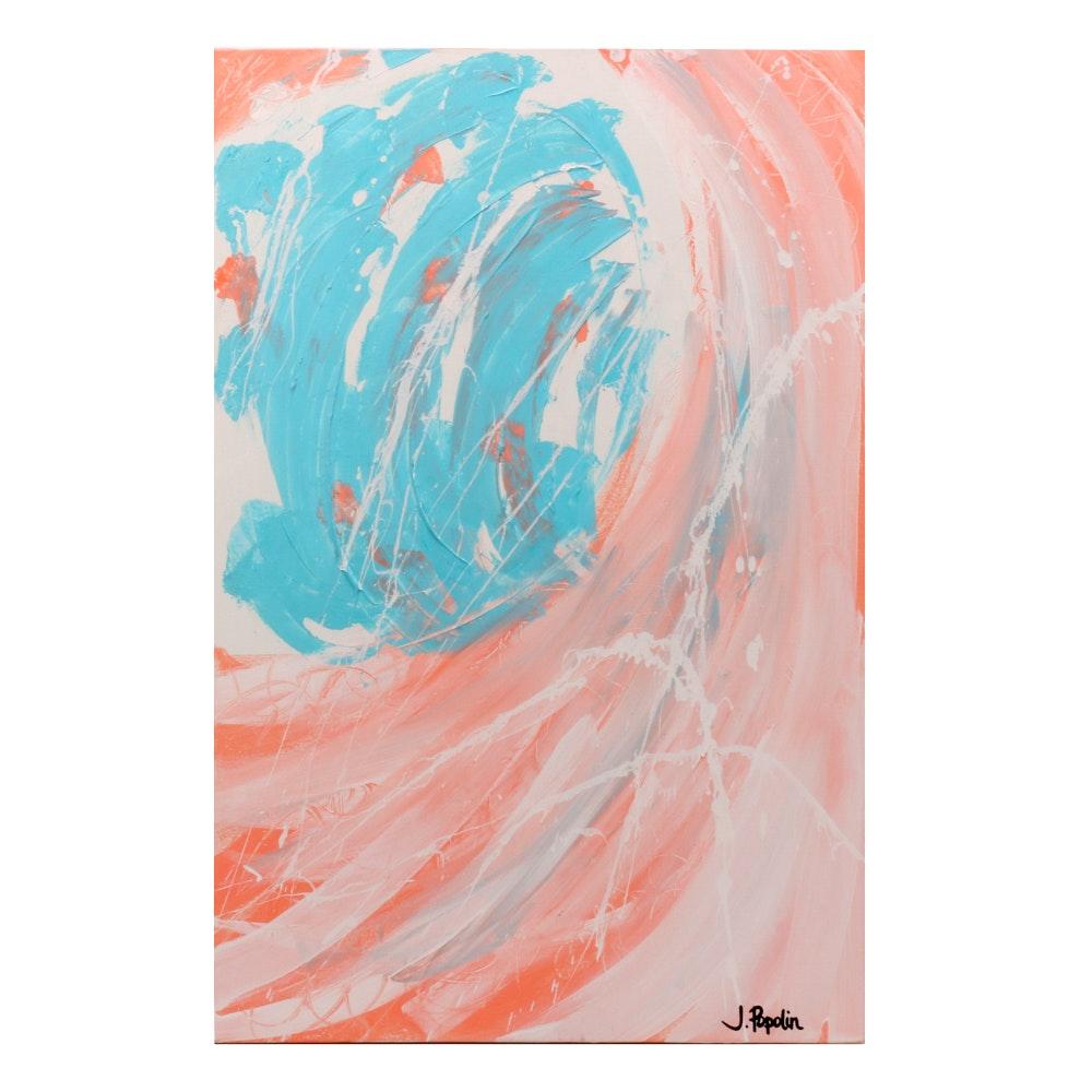 "J. Popolin Abstract Acrylic Painting ""Fla"""