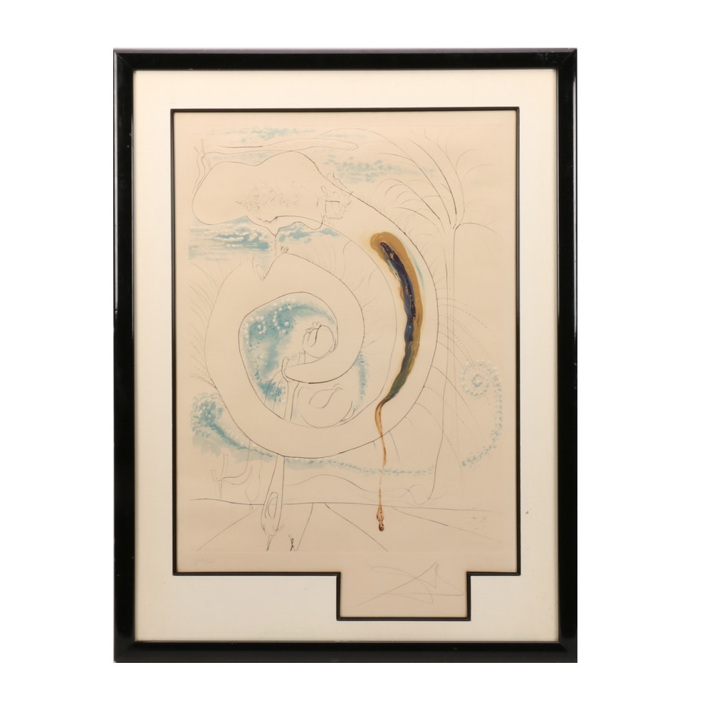 "Salvador Dalí Limited Edition Engraving ""Le cercle visceral du cosmos"""