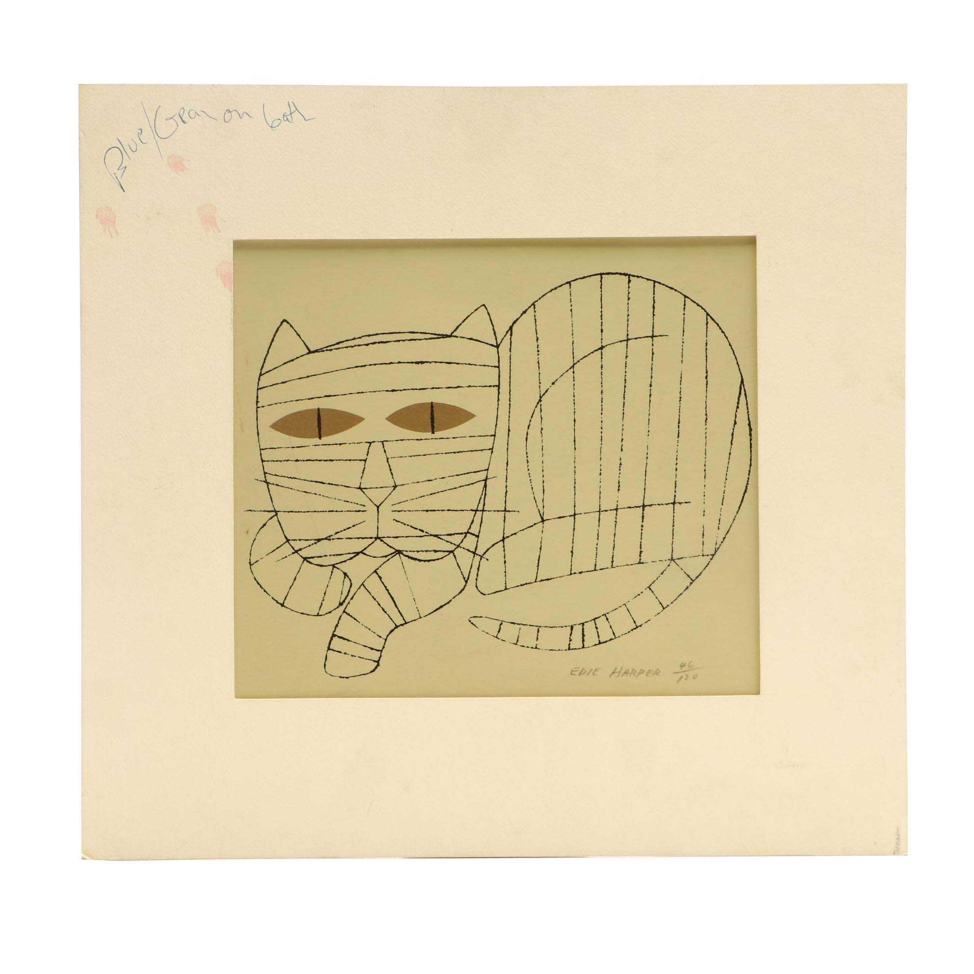 Edie Harper Limited Edition Serigraph of Cat