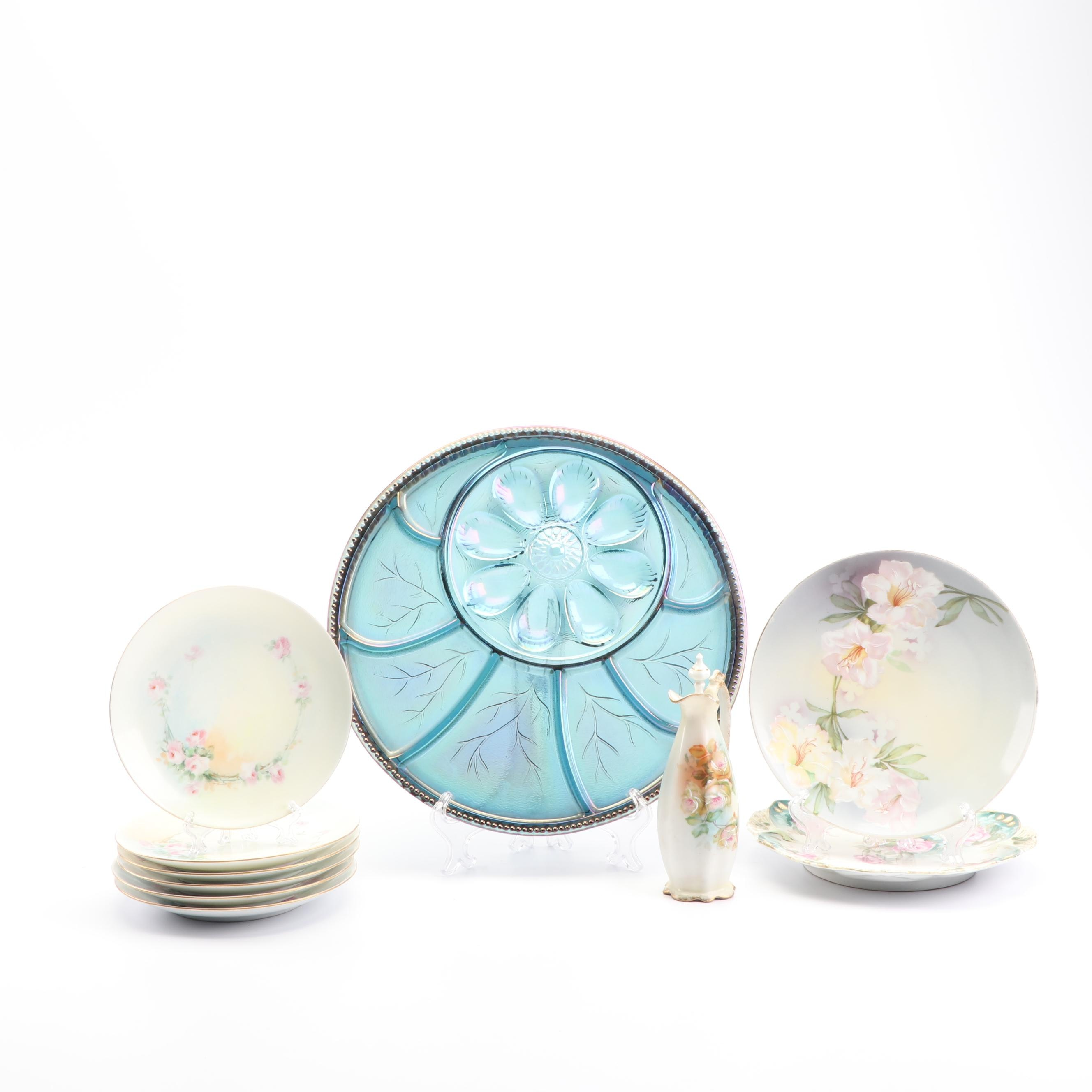 Late 19th/Early 20th Century Austrian Porcelain Tableware and Glass Serving Dish