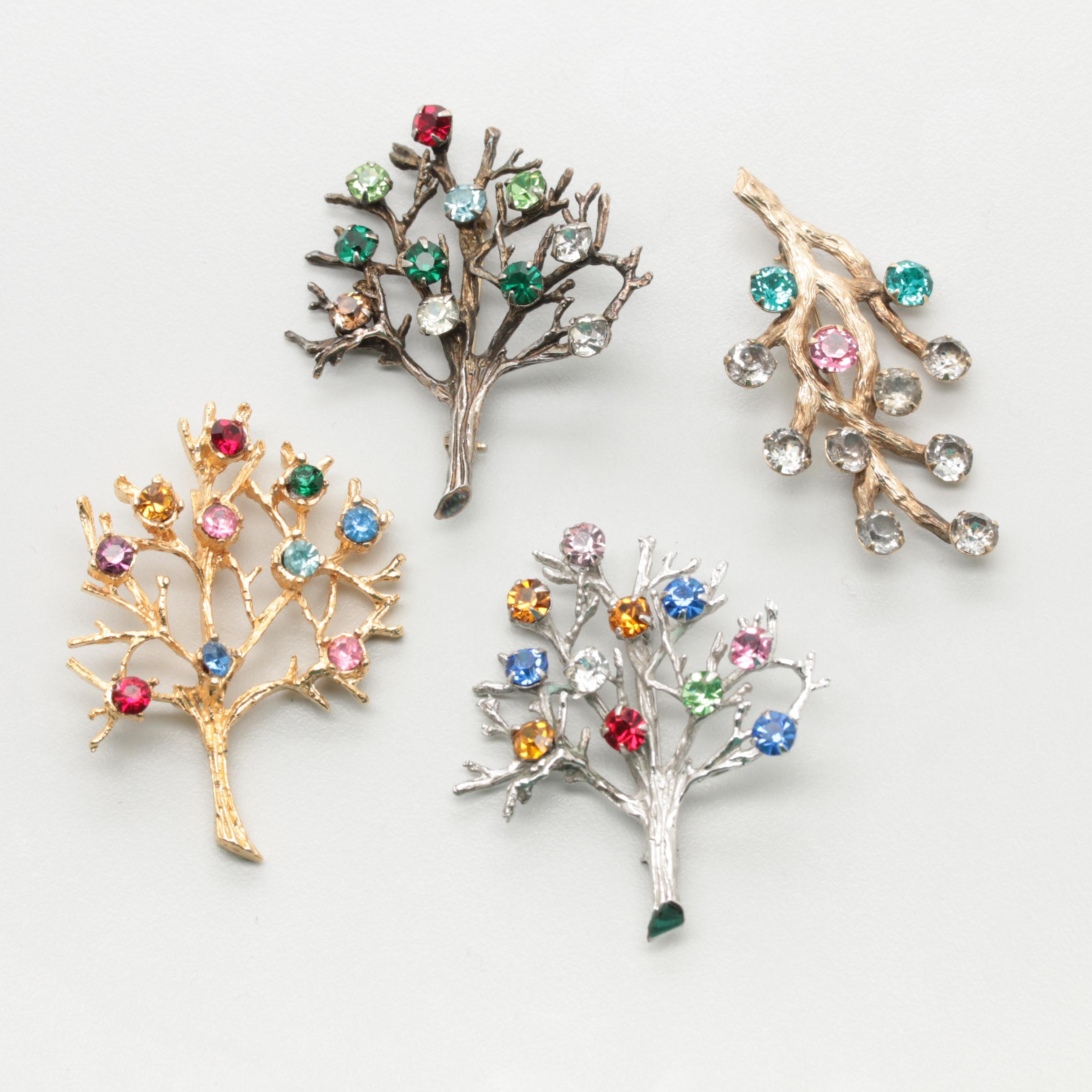 Collection of Vintage Brutalist Rhinestone Tree Brooches Including Van Dell, DE