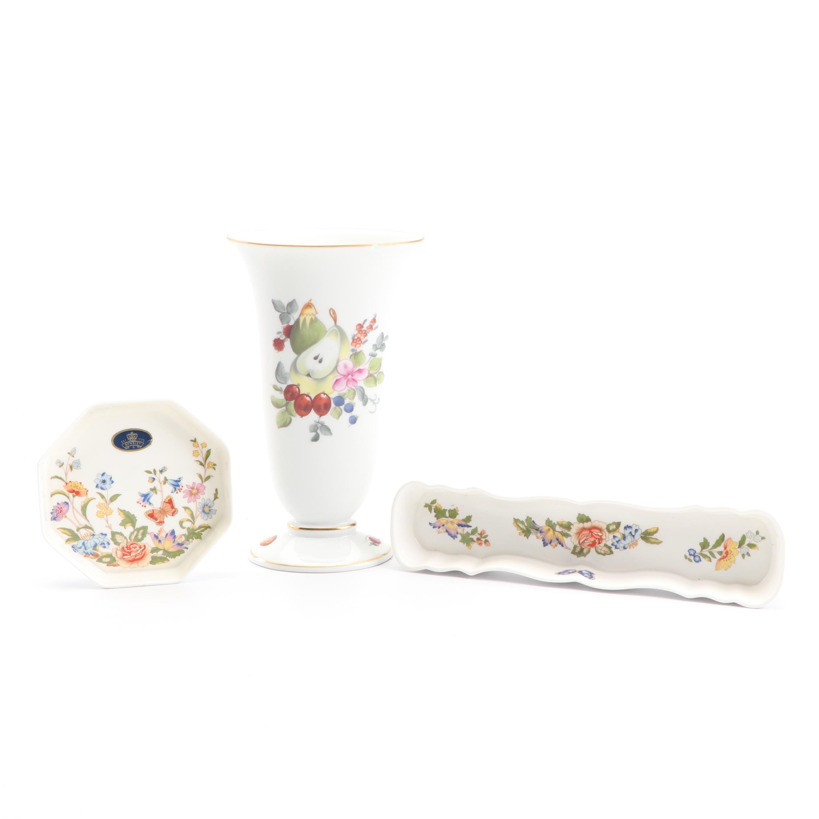 """Herend Hand-Painted """"Fruits and Flowers"""" Porcelain Vase with Aynsley Decor"""