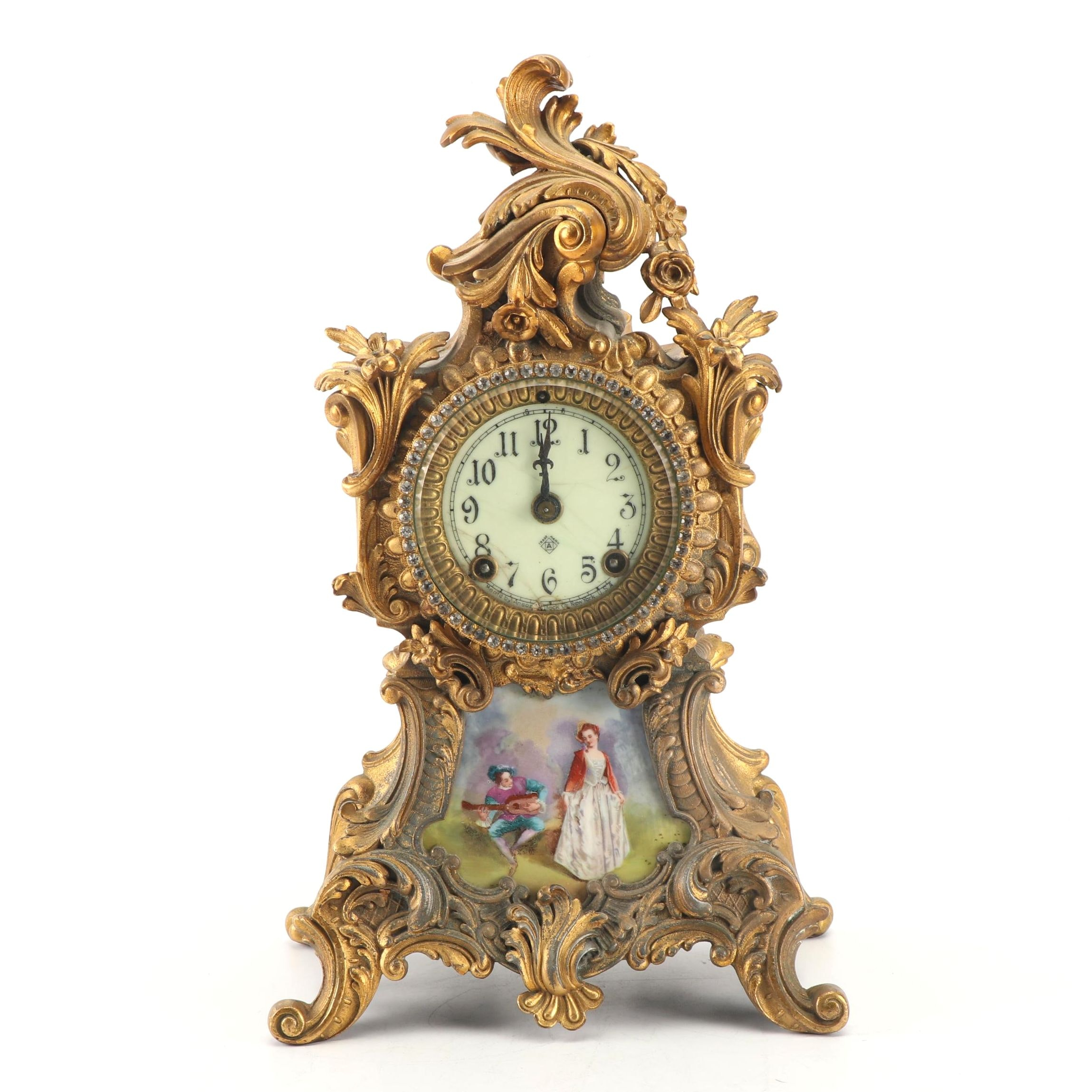 "Ansonia ""Trianon"" Spelter and Porcelain Mantle Clock, Circa 1900's"