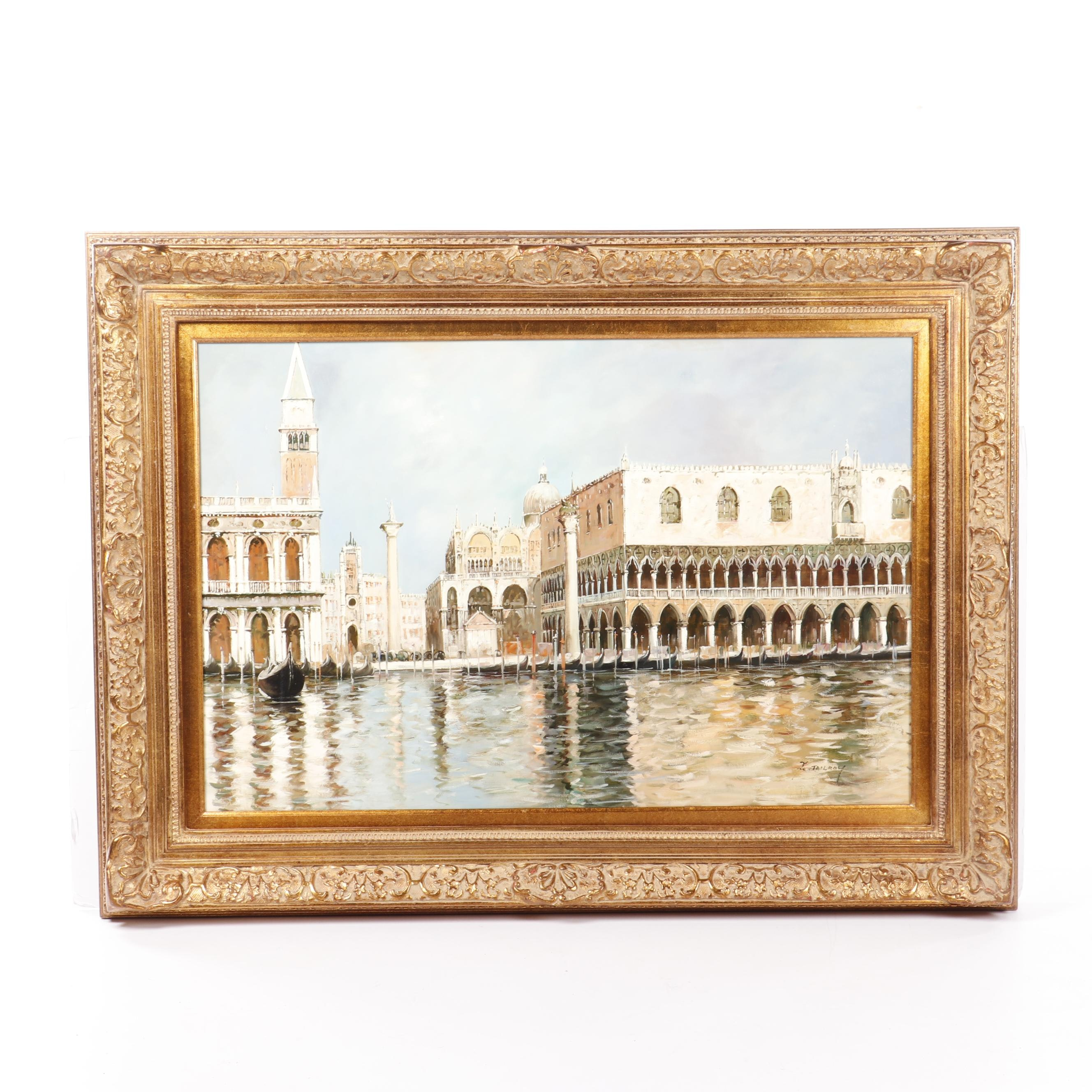 F. Tailroy Oil Painting of Venetian Canal