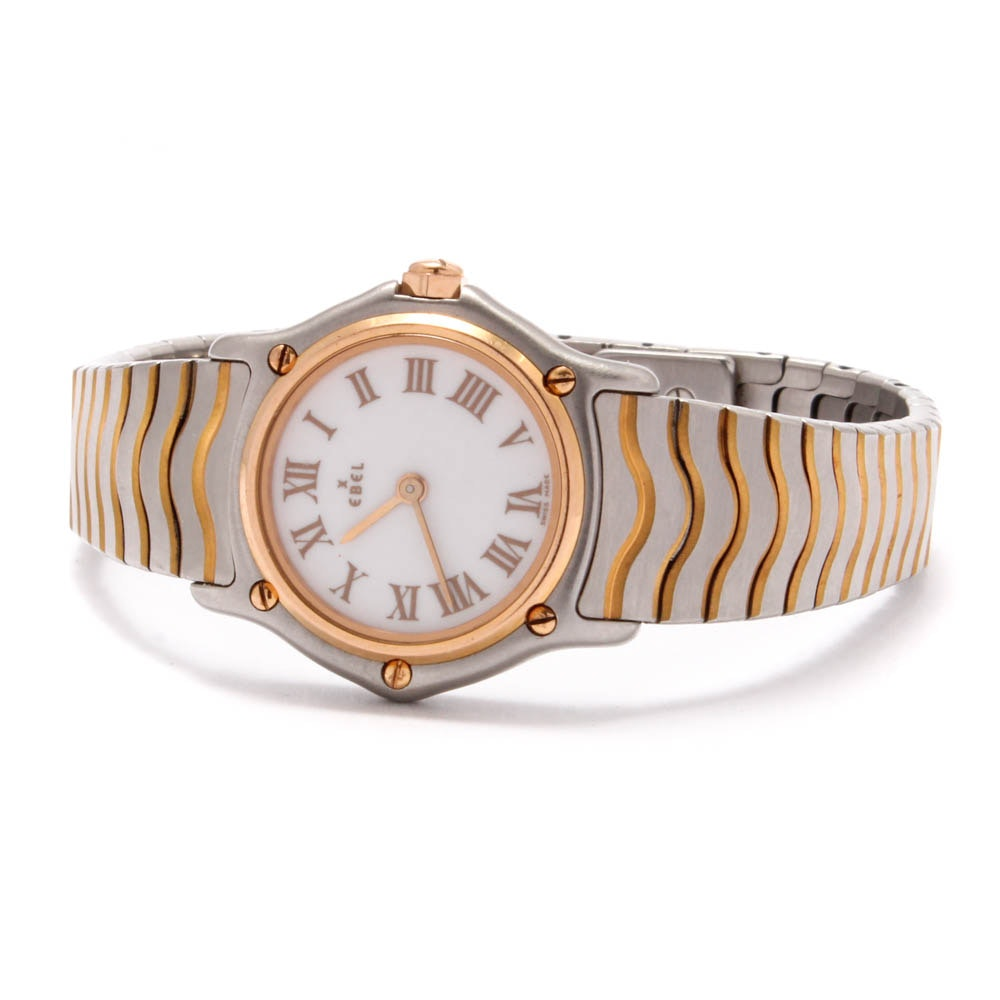 Satinless Steel and 18K Rose Gold Ebel Sport Classique Watch
