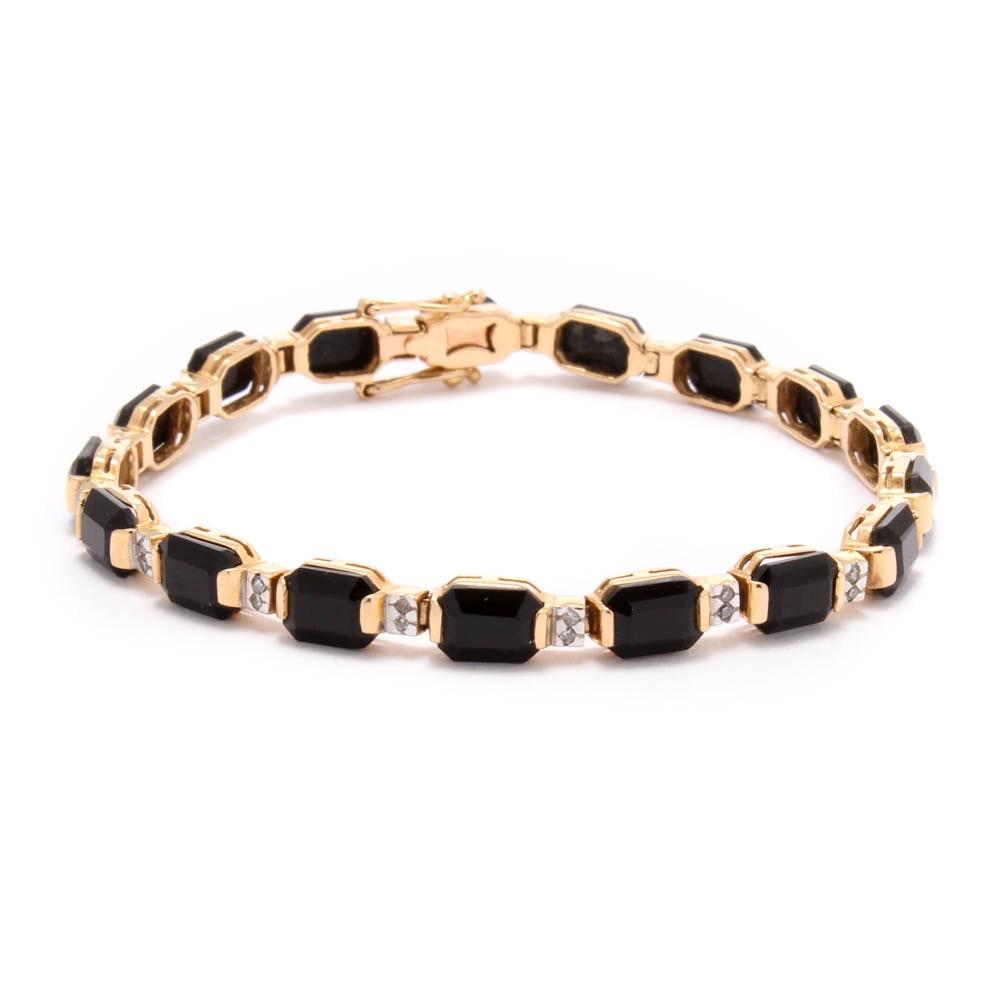 14K Yellow Gold Diamond and Onyx Bracelet
