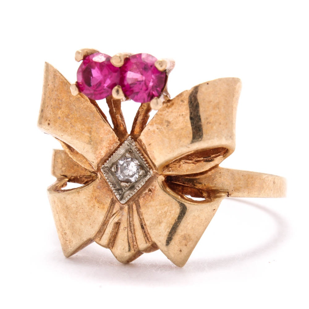 Art Deco 10K Yellow Gold Diamond and Synthetic Ruby Ring