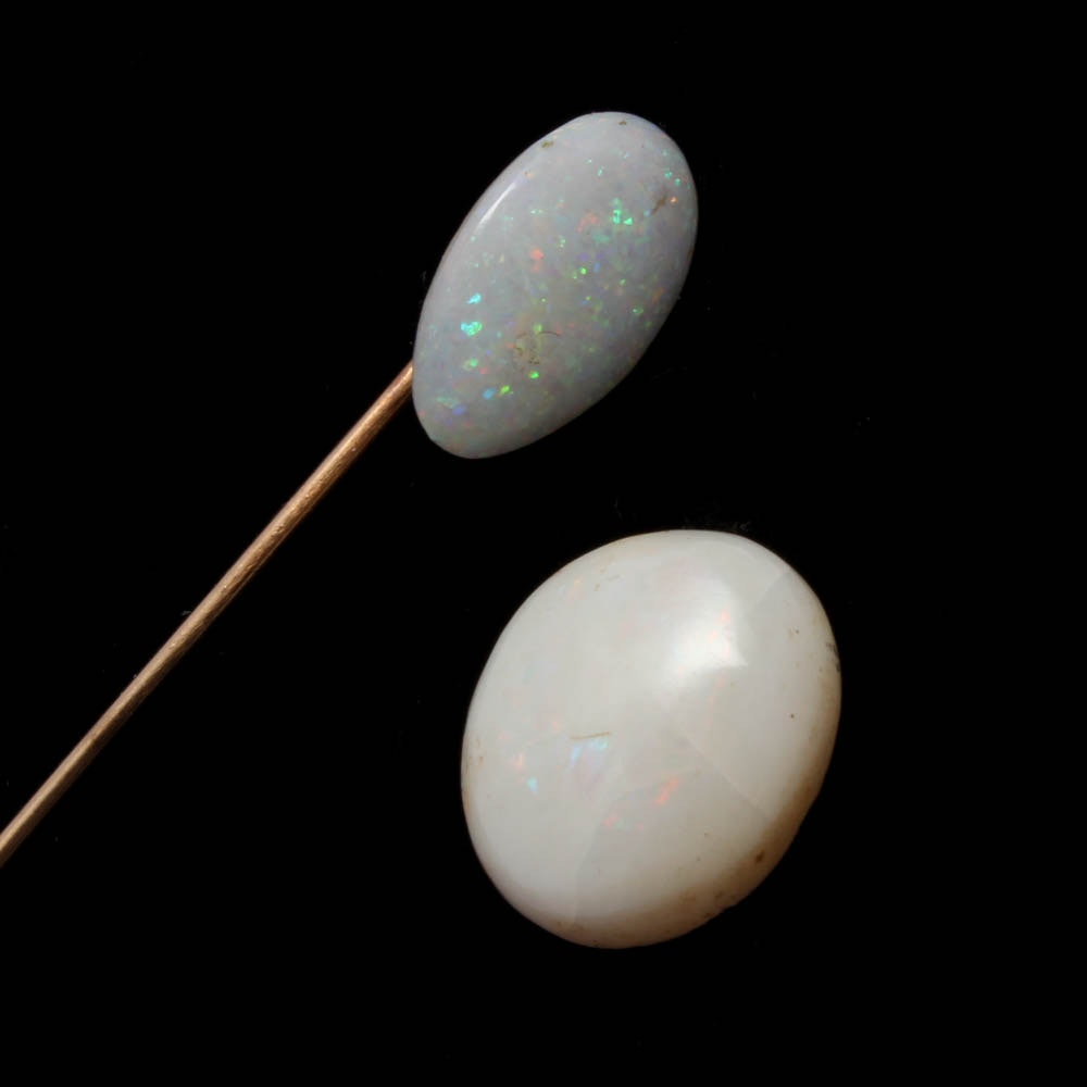 Gold Filled Opal Stick Pin and 7.10 CTS Loose Opal Cabochon