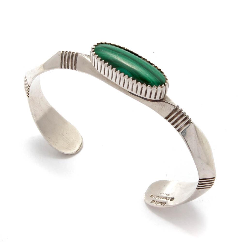 Will Denetdale Navajo Sterling Silver Malachite Cuff Bracelet