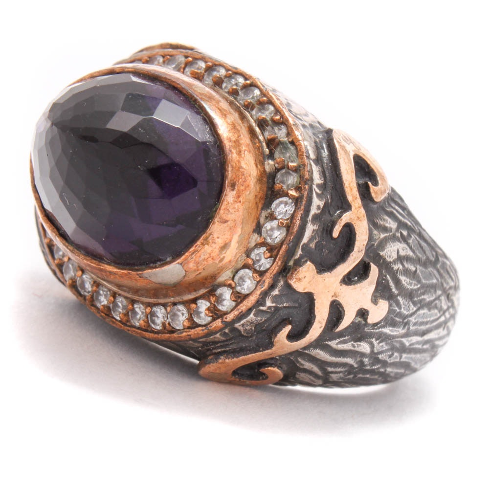 Sterling Silver Imitation Amethyst and Cubic Zirconia Ring