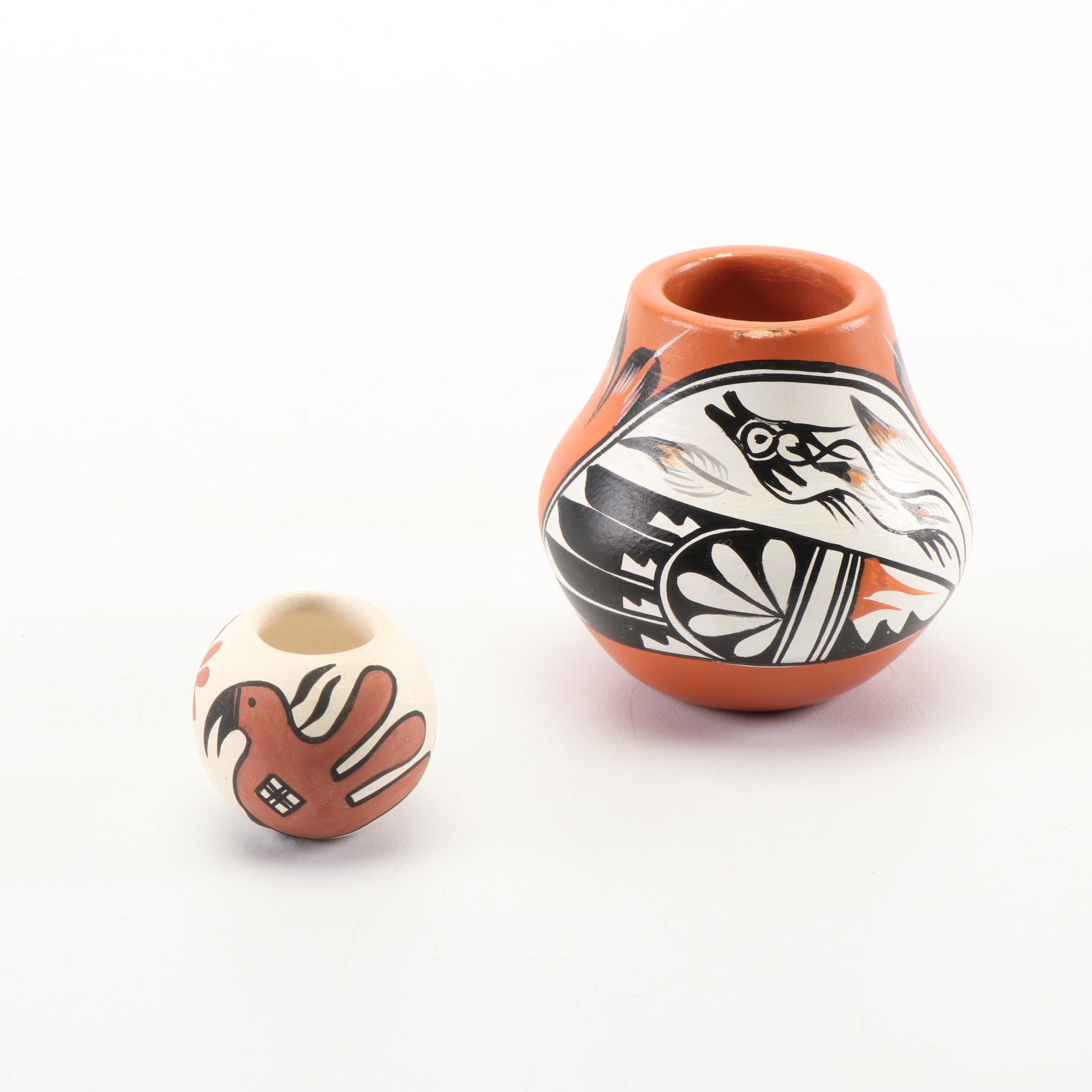 Signed V. Tafoya Jemez and K. Torivio Miniature Pueblo Pottery