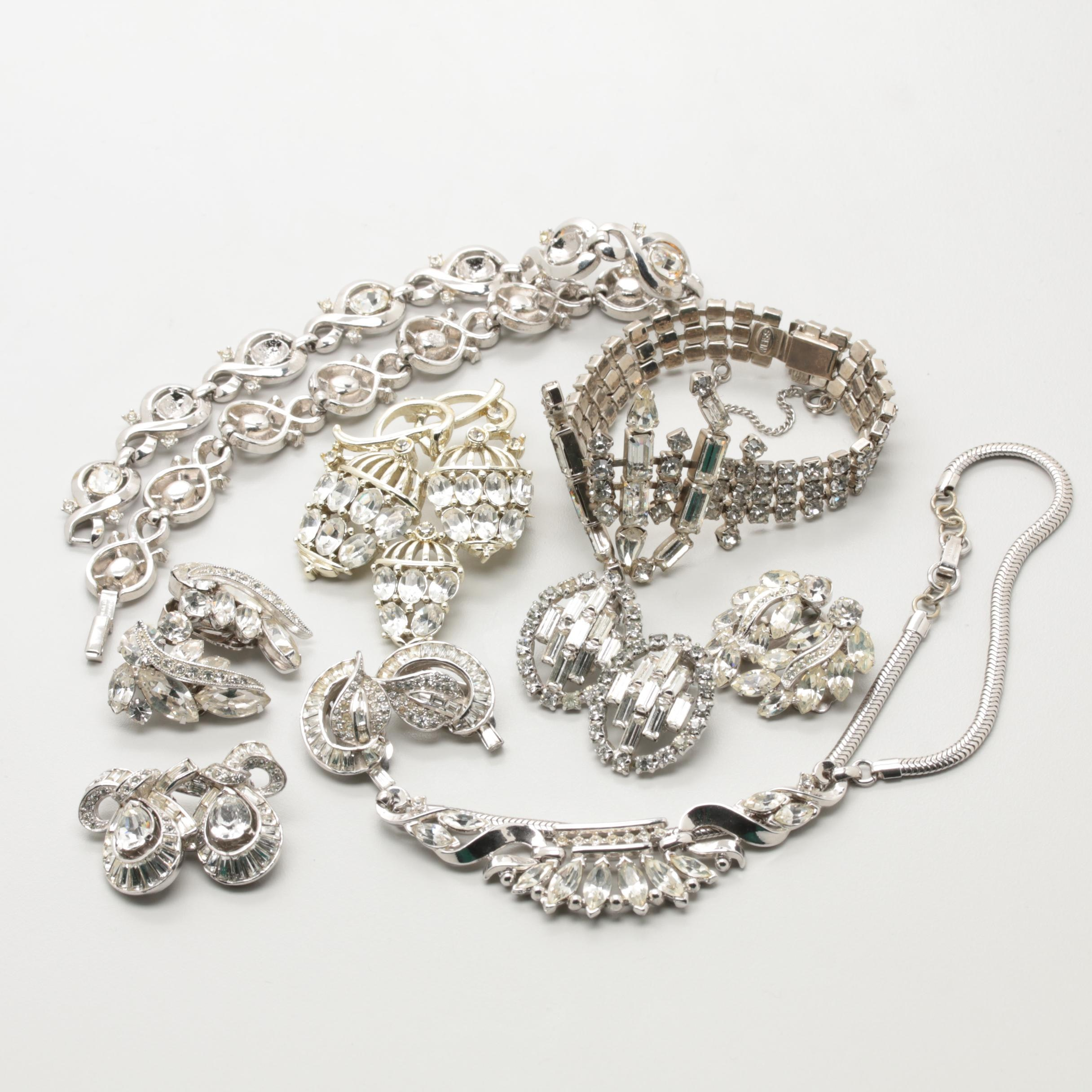 Collection of 1960s Rhinestone Jewelry Including Weiss, Trifari