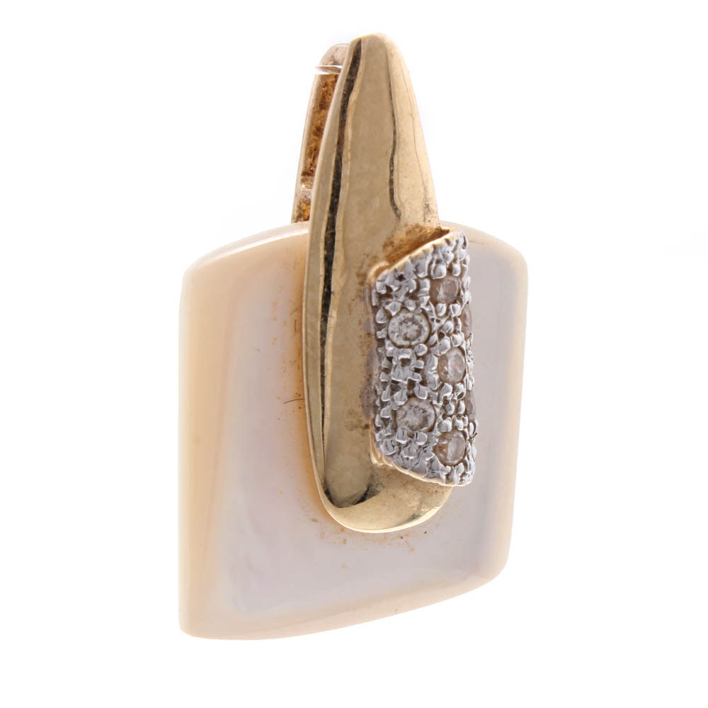 14K Yellow Gold Diamond and Mother of Pearl Pendant