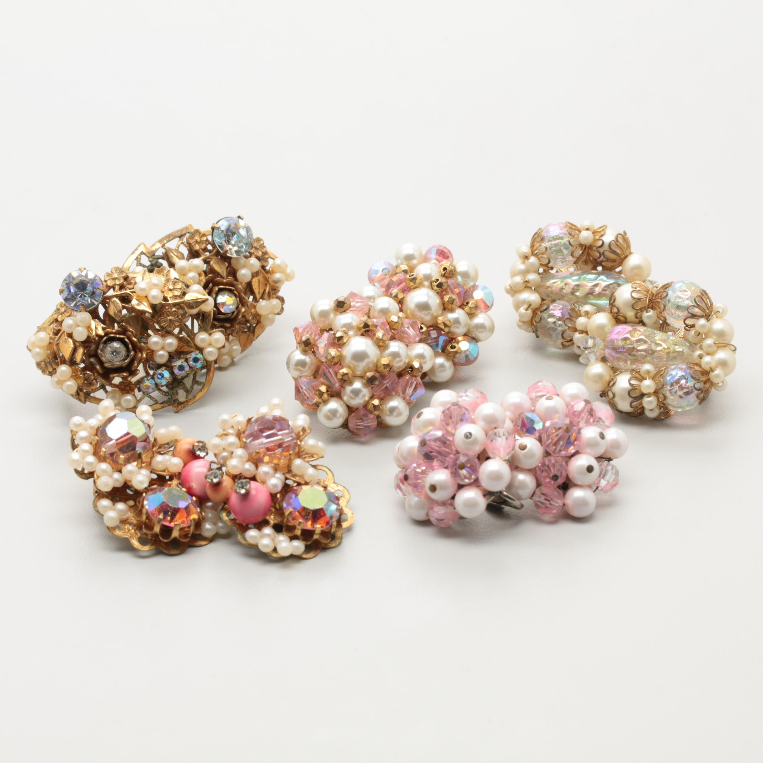 Collection of 1960s Beaded Rhinestone Earrings Including Hobé and Laguna
