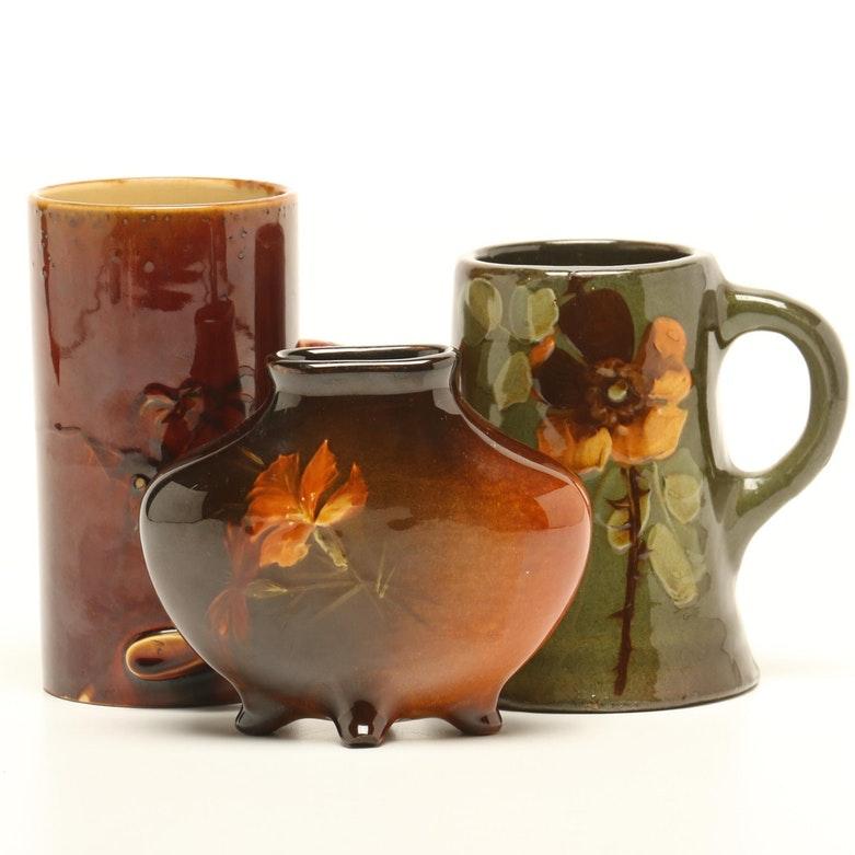 "J.B. Owens ""Utopian"" Vase and Standard Glaze Vase with Mug, Early 20th Century"