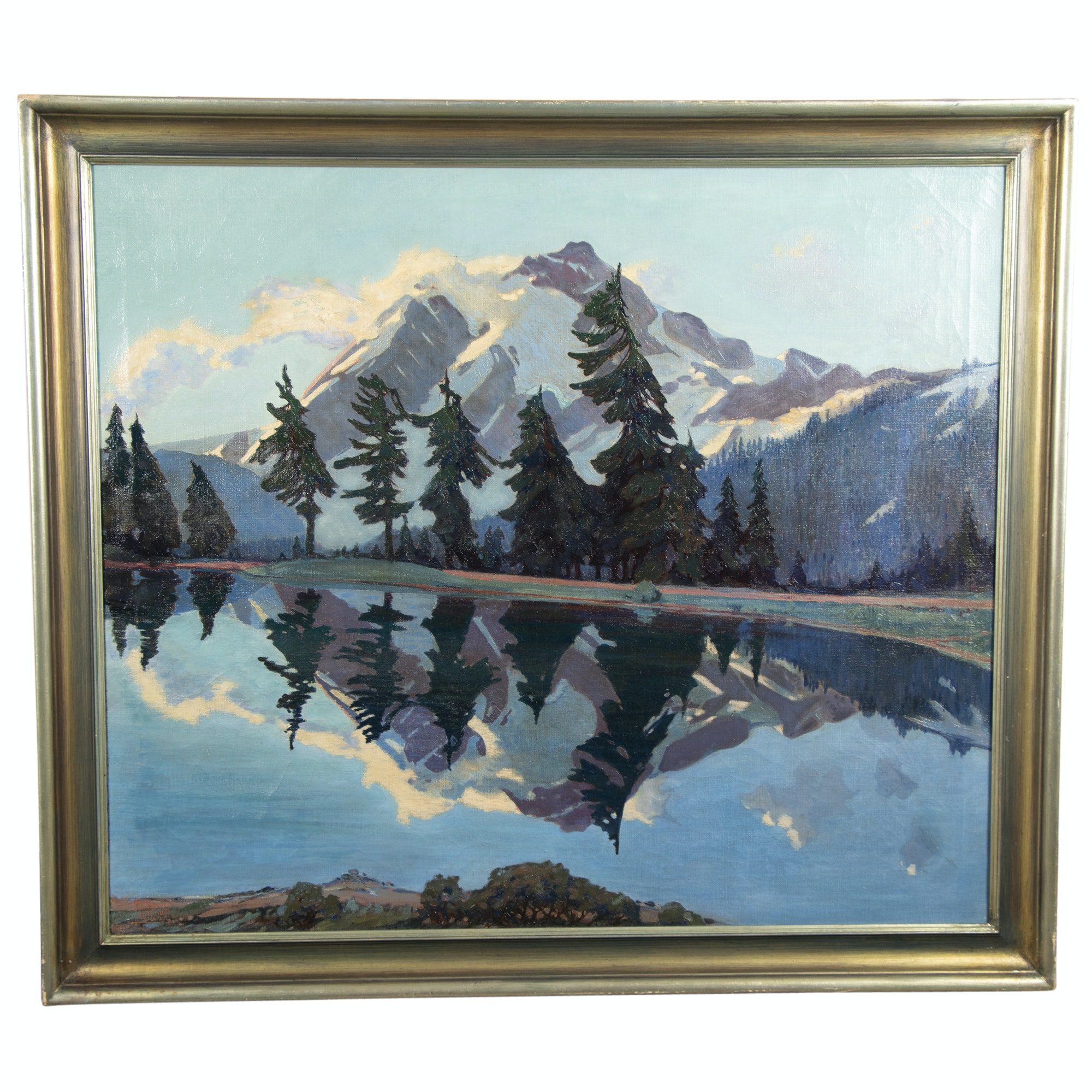 """Tom Wilder Oil Painting """"Mountain Landscape with Reflection in a Lake"""""""