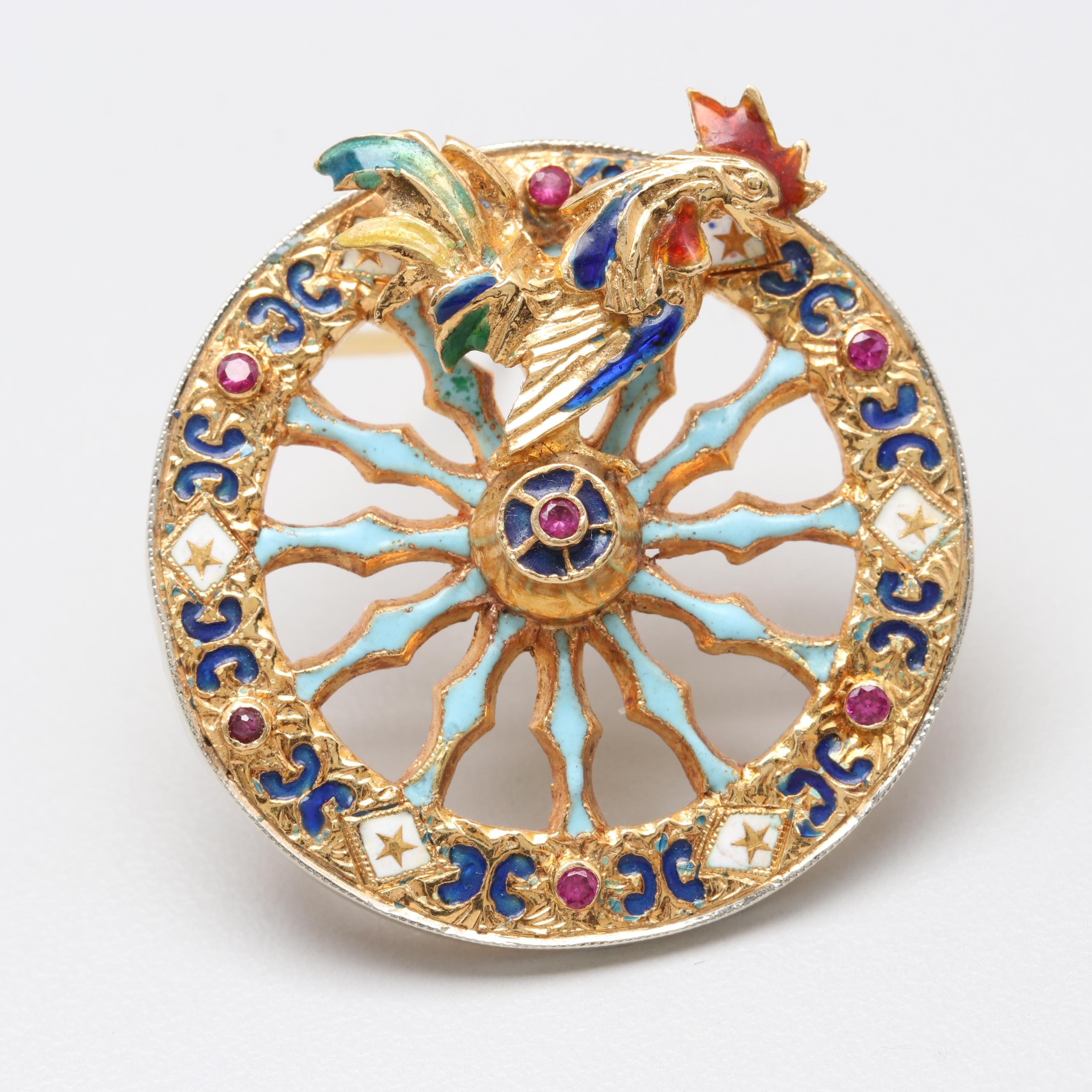 Italian 18K Yellow Gold Synthetic Ruby and Enamel Brooch Featuring Rooster
