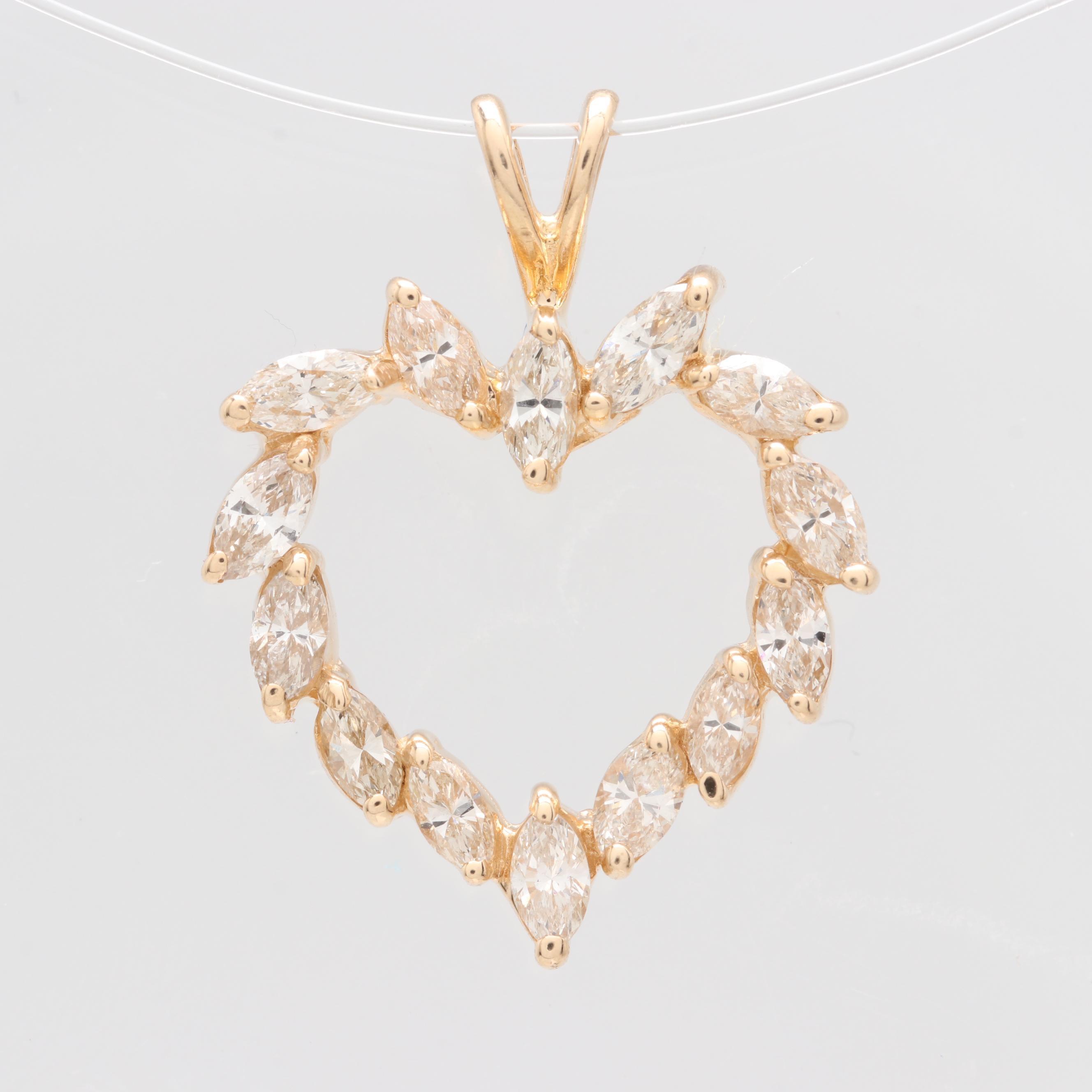 14K Yellow Gold 1.05 CTW Diamond Heart Pendant