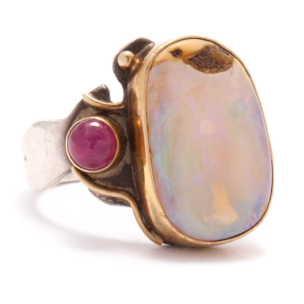 Shano 14K Yellow Gold and Sterling Silver Opal and Ruby Ring