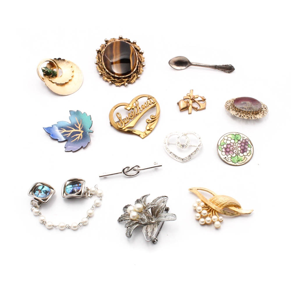 Vintage Costume Jewelry Brooches and Sweater Guard