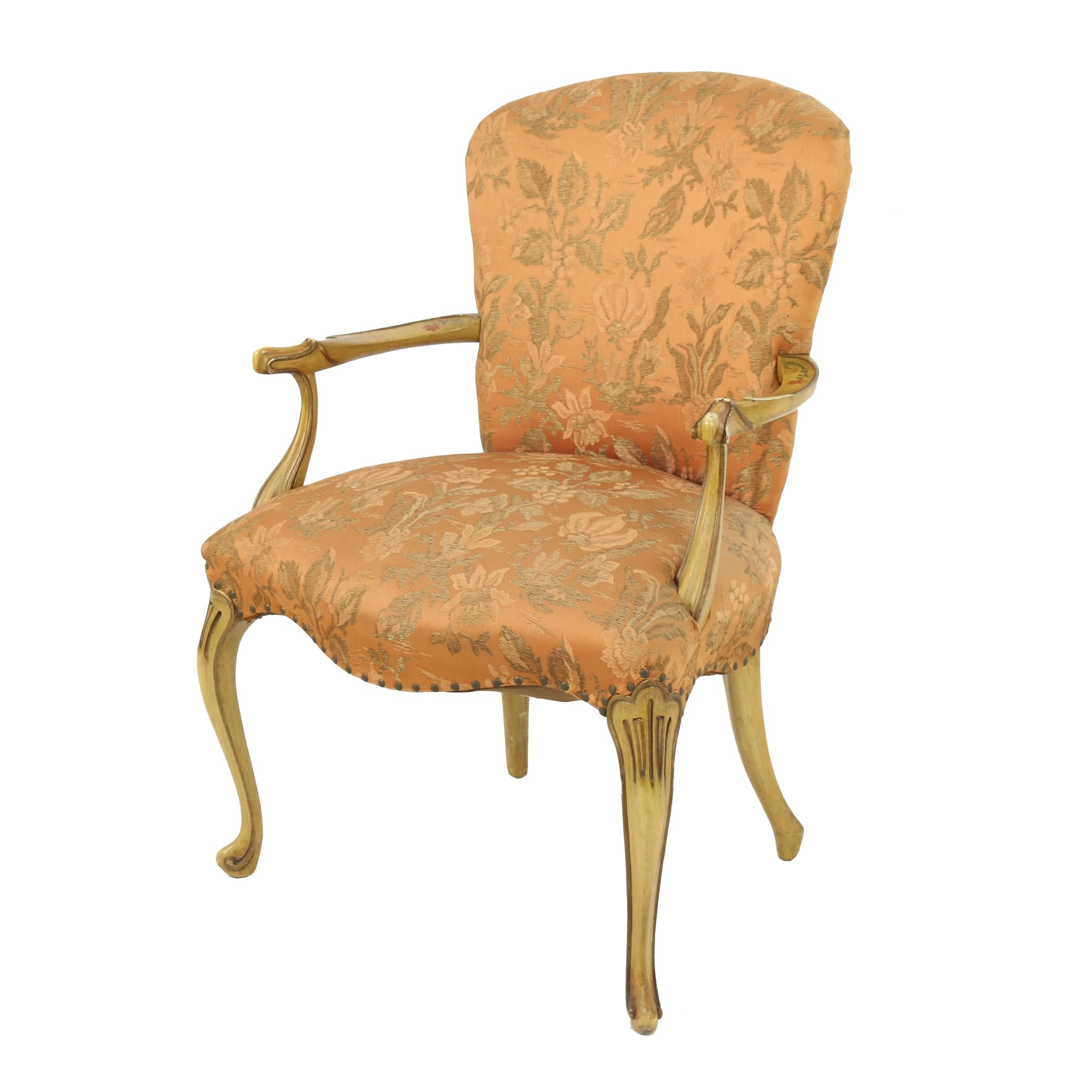 Queen Anne Style Upholstered Armchair, Mid-20th Century