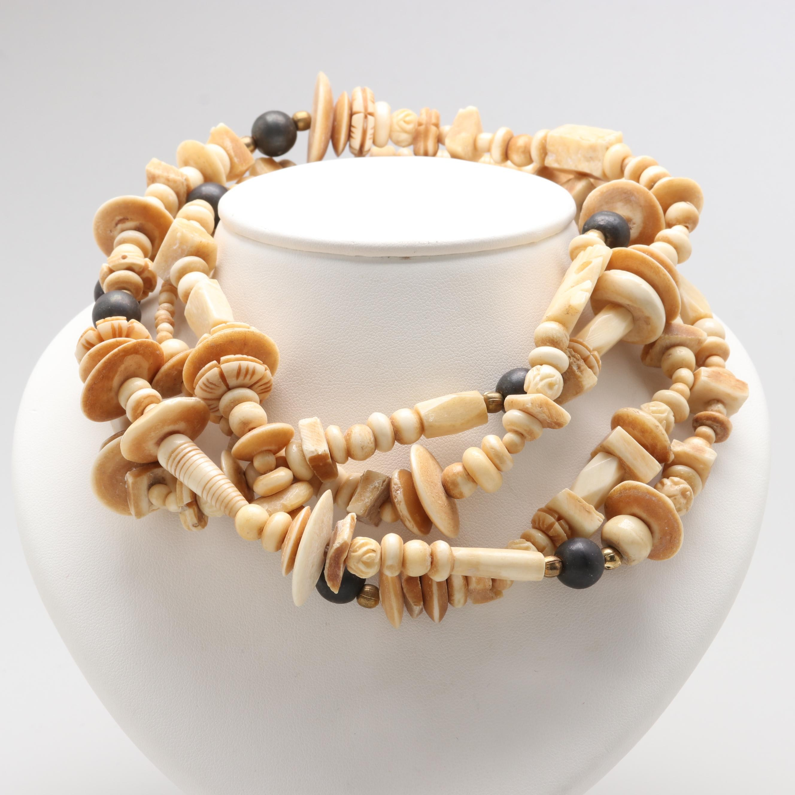 Rope Length Beaded Bone Necklace