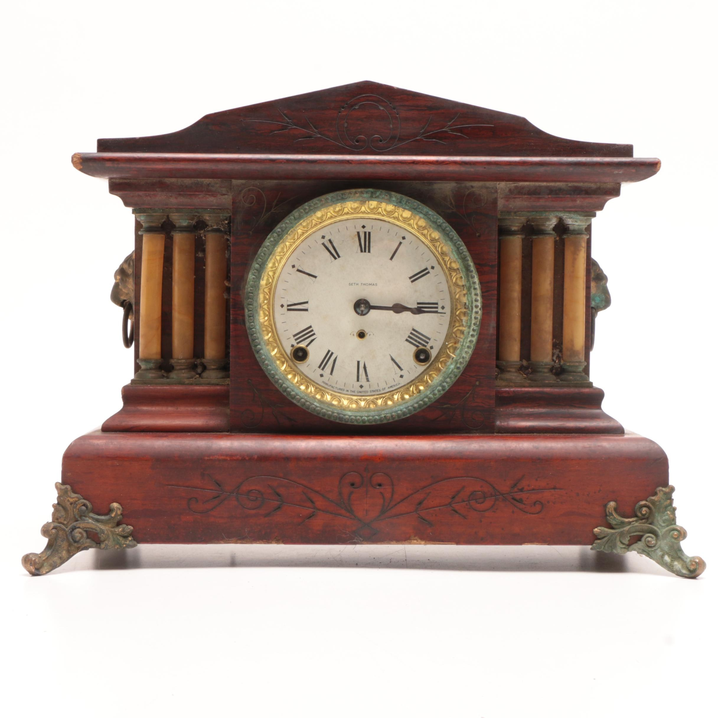 Seth Thomas Adamantine Mantel Clock with Rosewood Graining