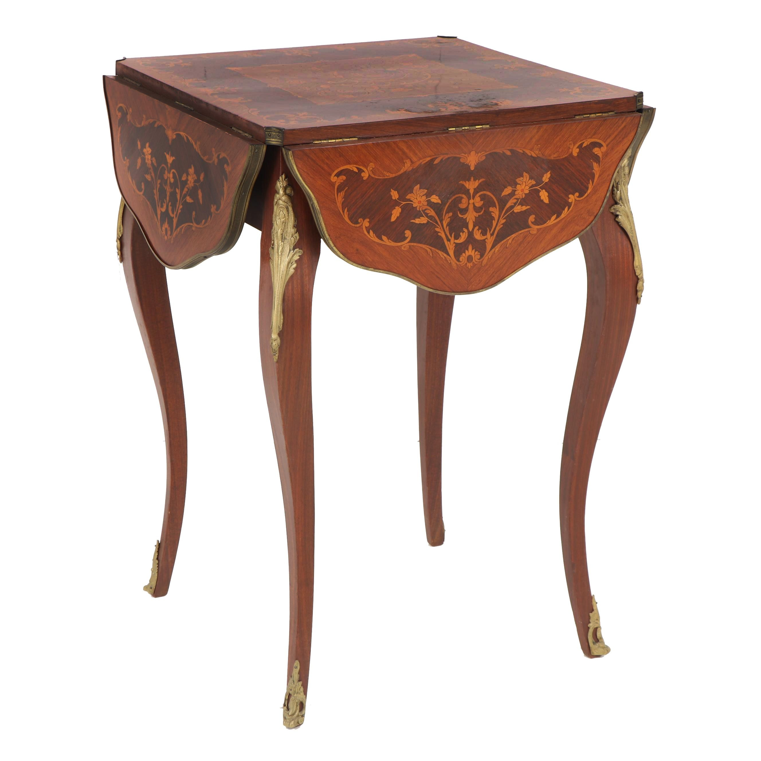 Louis XV Style Marquetry and Mahogany Drop Leaf Table, 20th Century