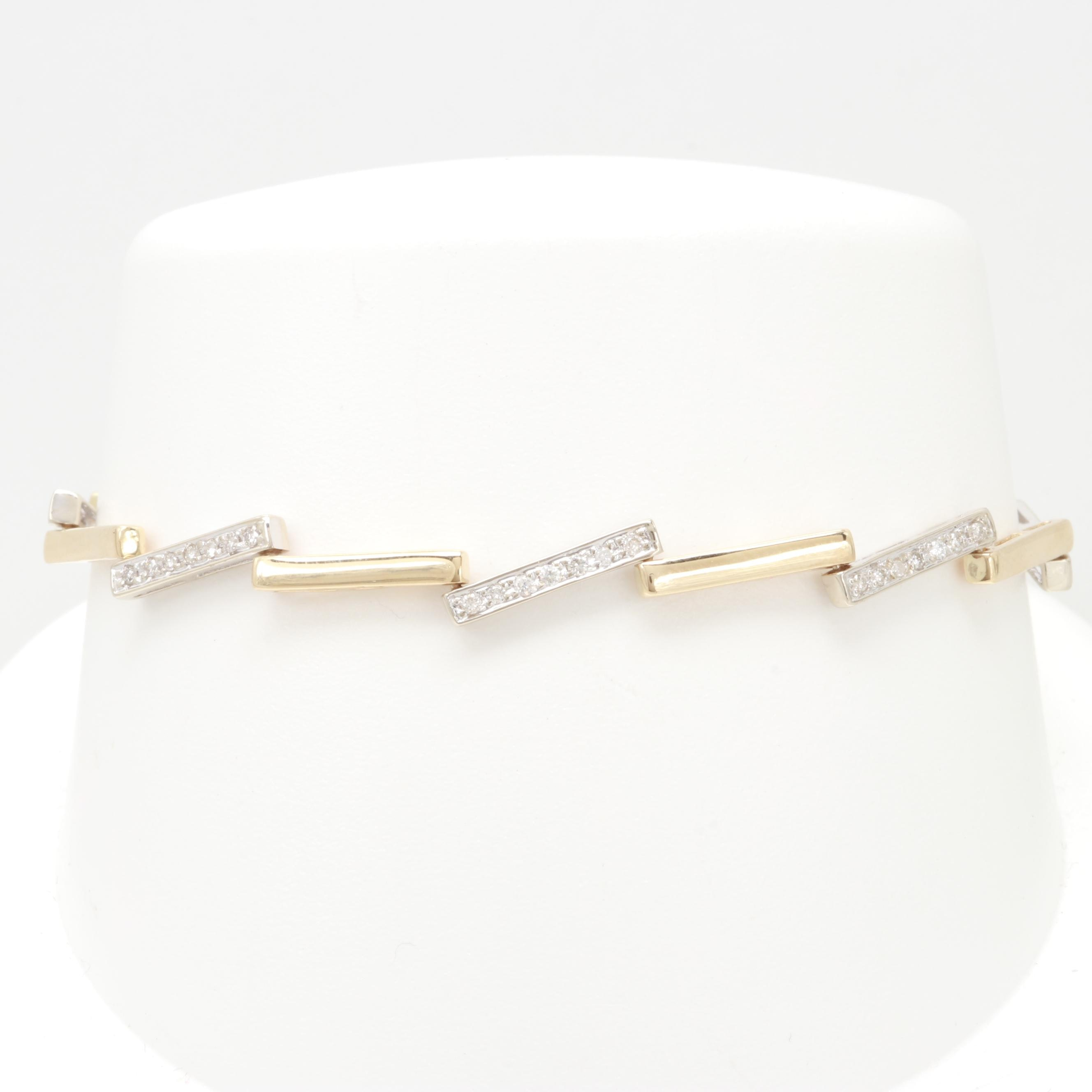 14K Yellow and White Gold Diamond Bracelet