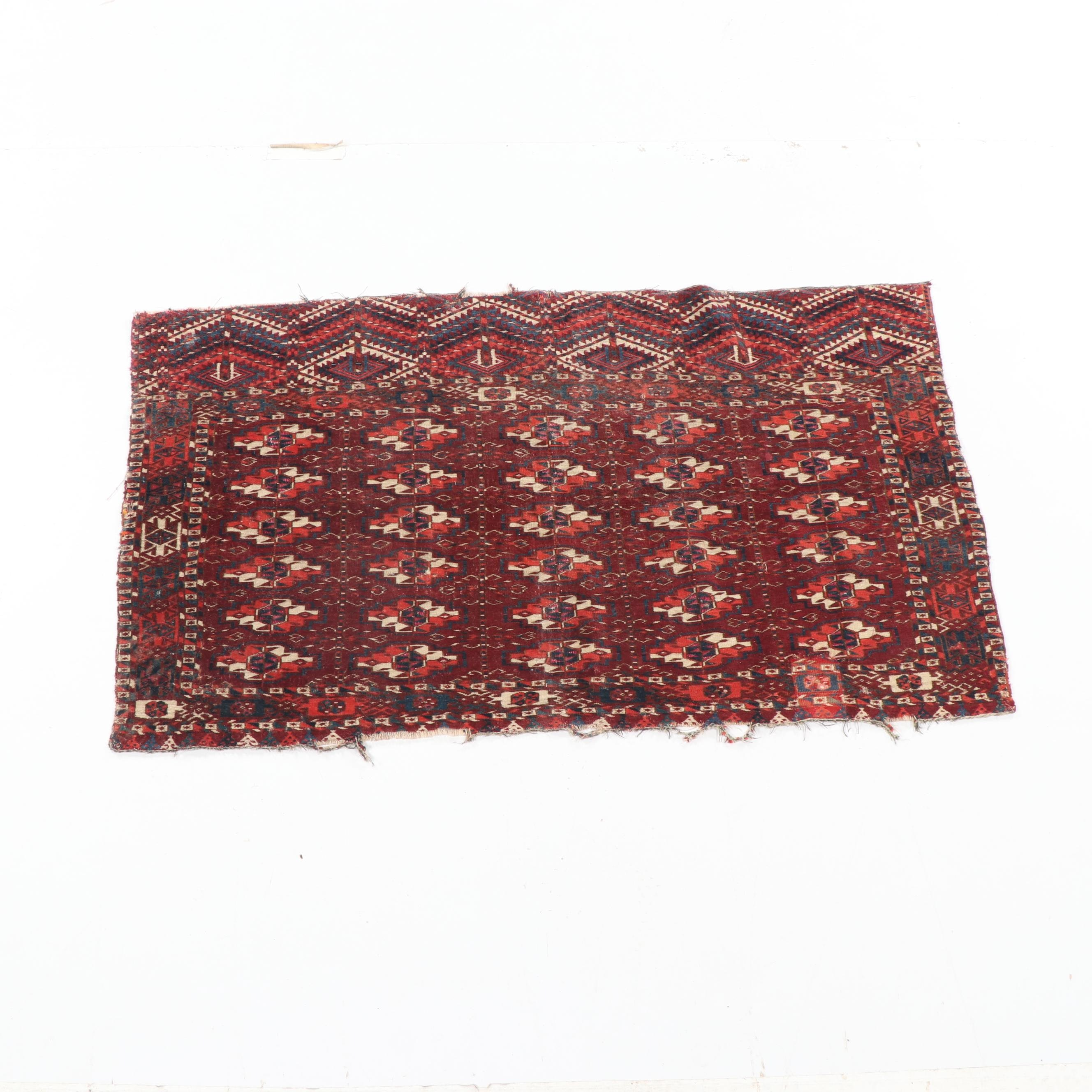 Hand-Knotted Turkmen Wool Chuval Front
