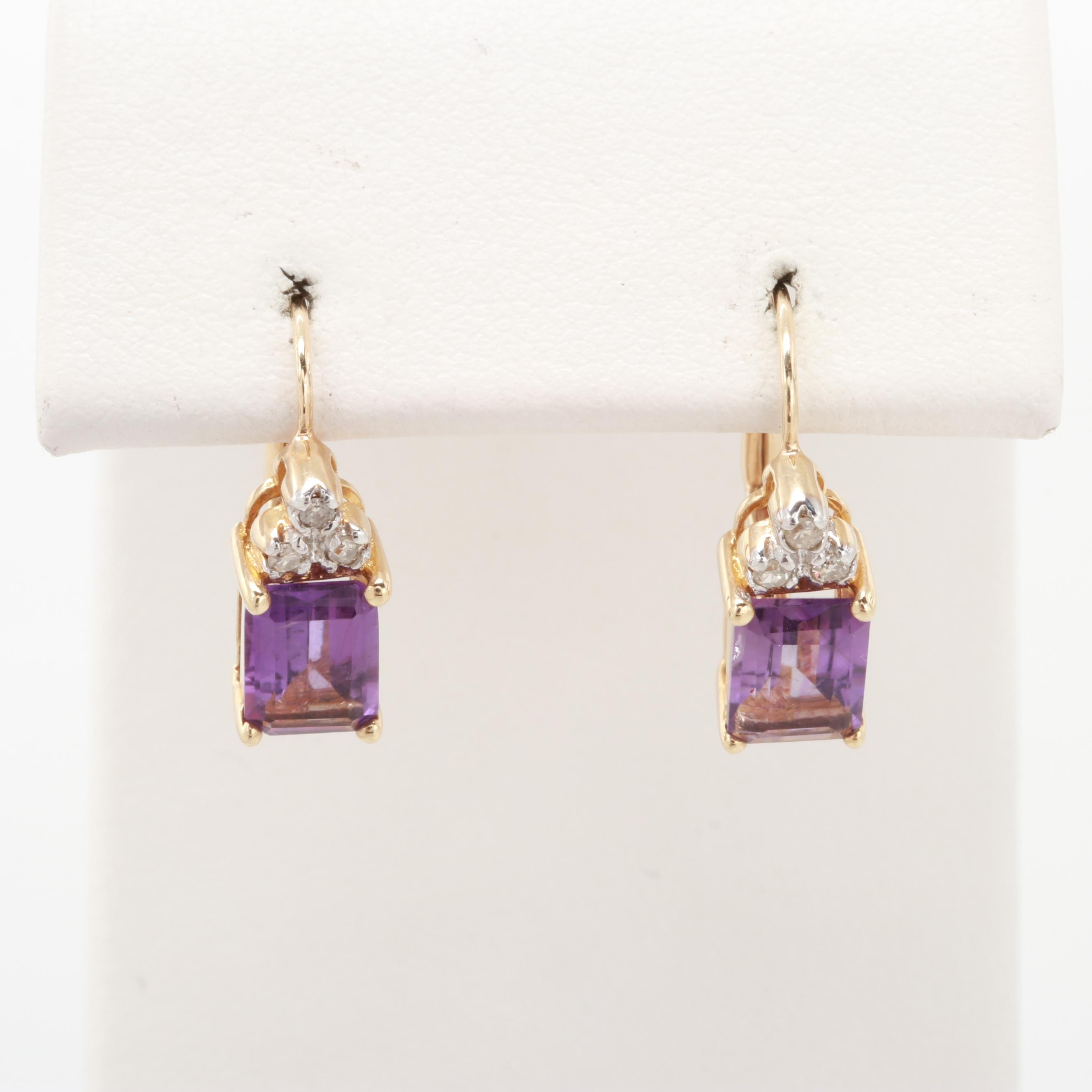 10K Yellow Gold Amethyst and Diamond Earrings